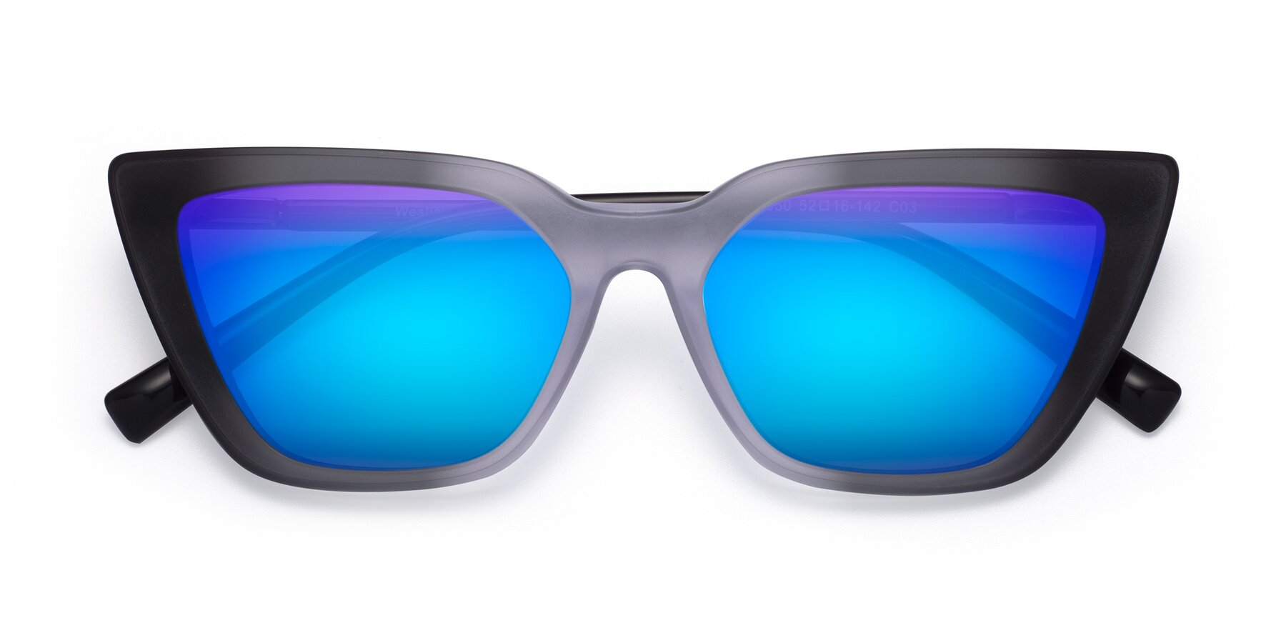 Folded Front of Westley in Gradient Black with Blue Mirrored Lenses