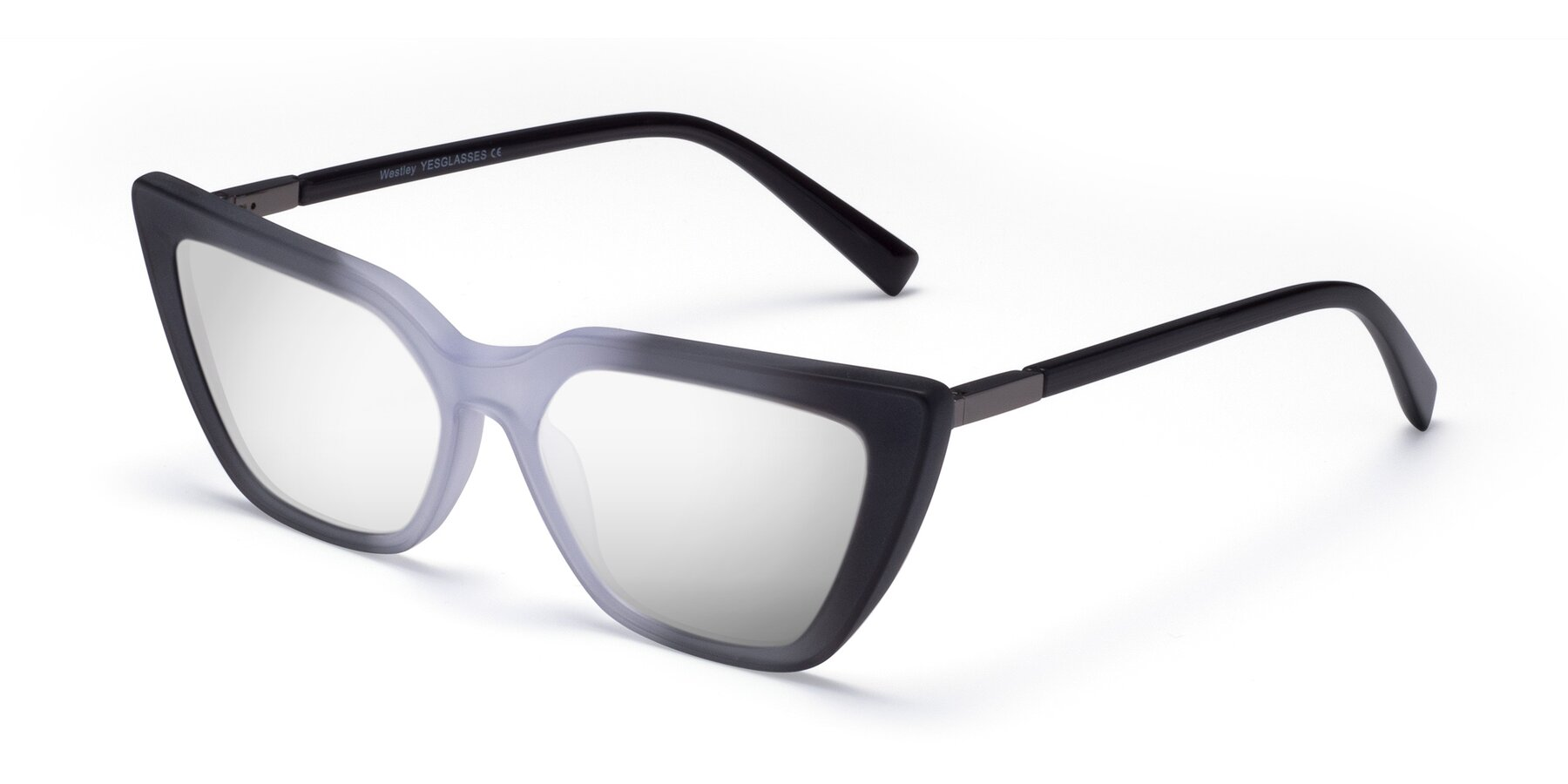 Angle of Westley in Gradient Black with Silver Mirrored Lenses