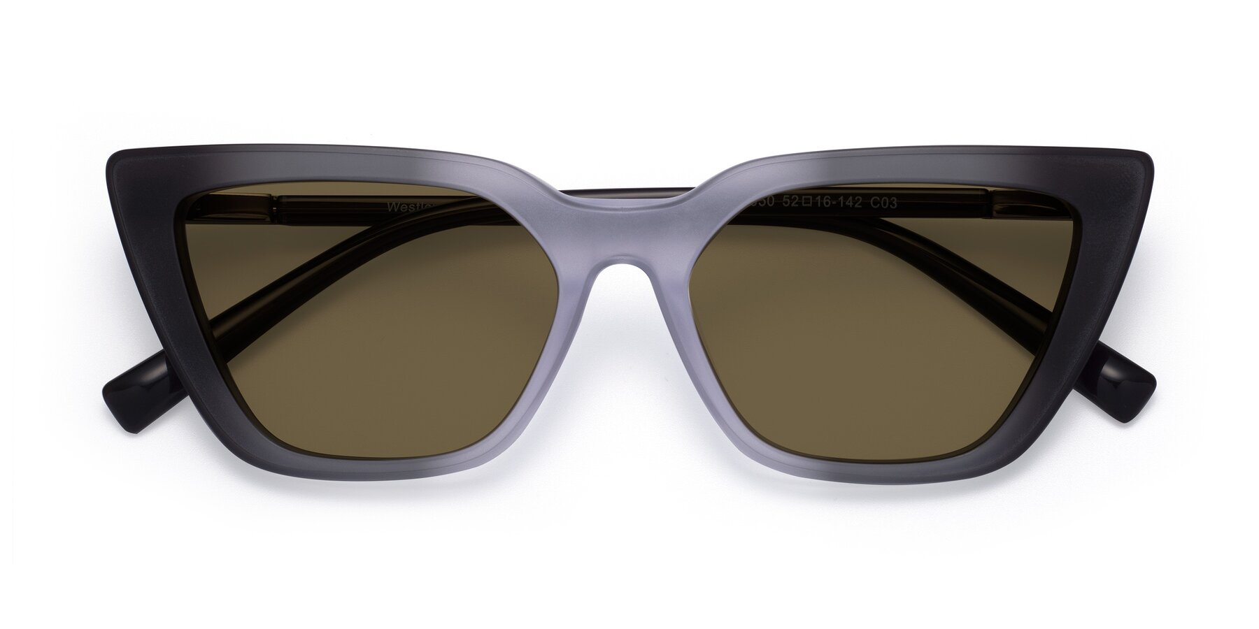 Folded Front of Westley in Gradient Black with Brown Polarized Lenses