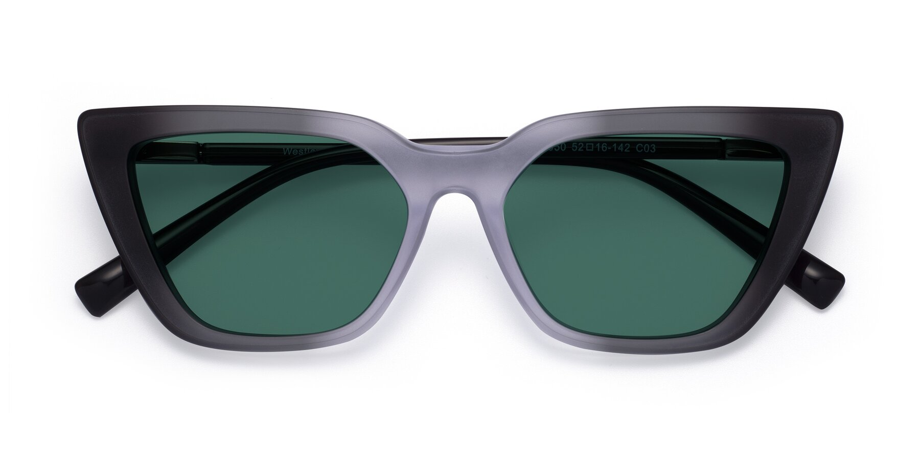 Folded Front of Westley in Gradient Black with Green Polarized Lenses