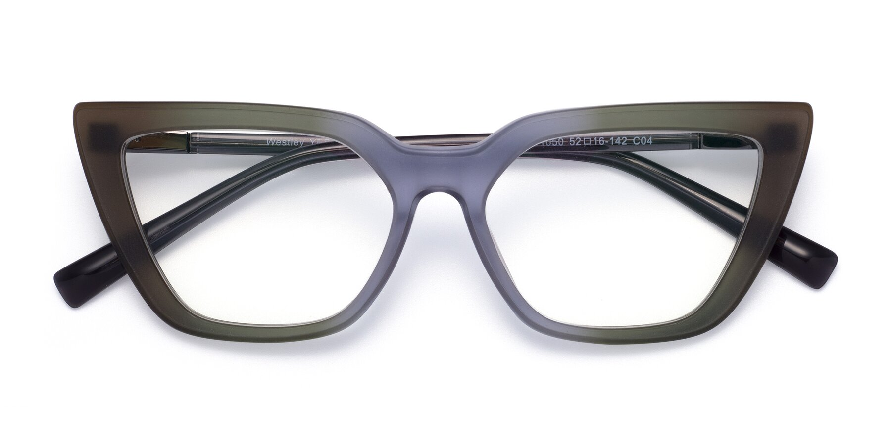 Folded Front of Westley in Gradient Green with Clear Eyeglass Lenses