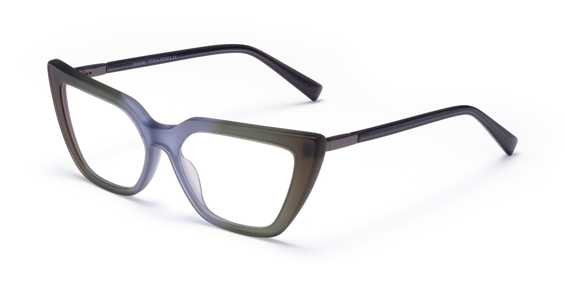 Angle of Westley in Gradient Green with Clear Eyeglass Lenses
