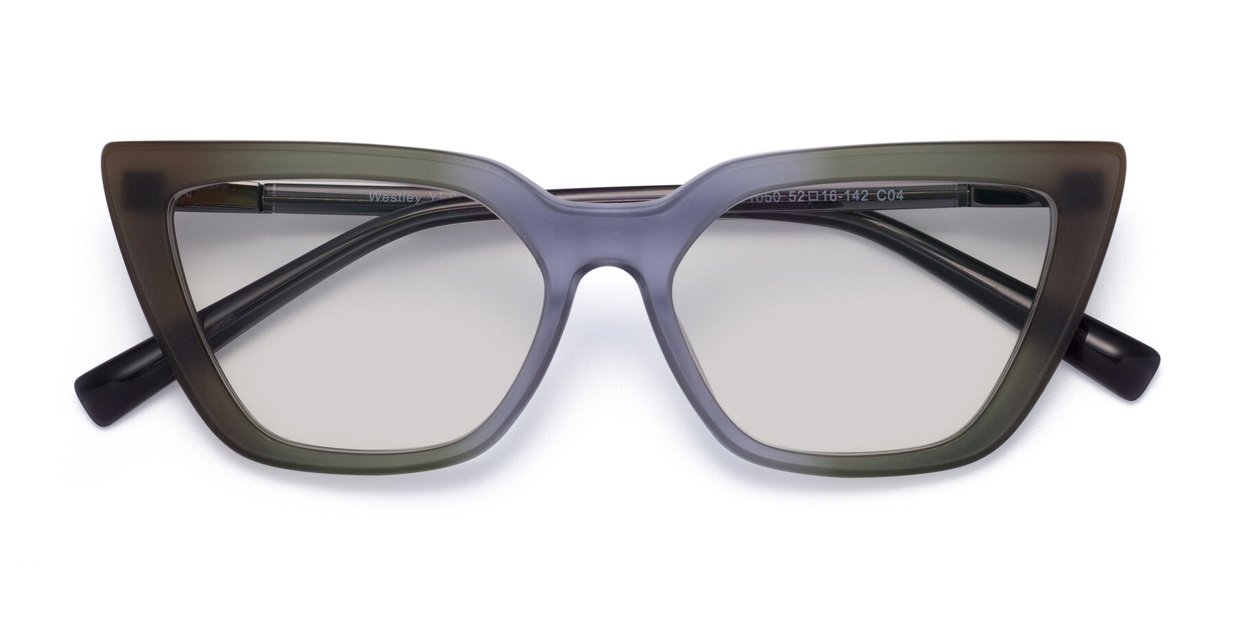 Folded Front of Westley in Gradient Green with Light Gray Tinted Lenses