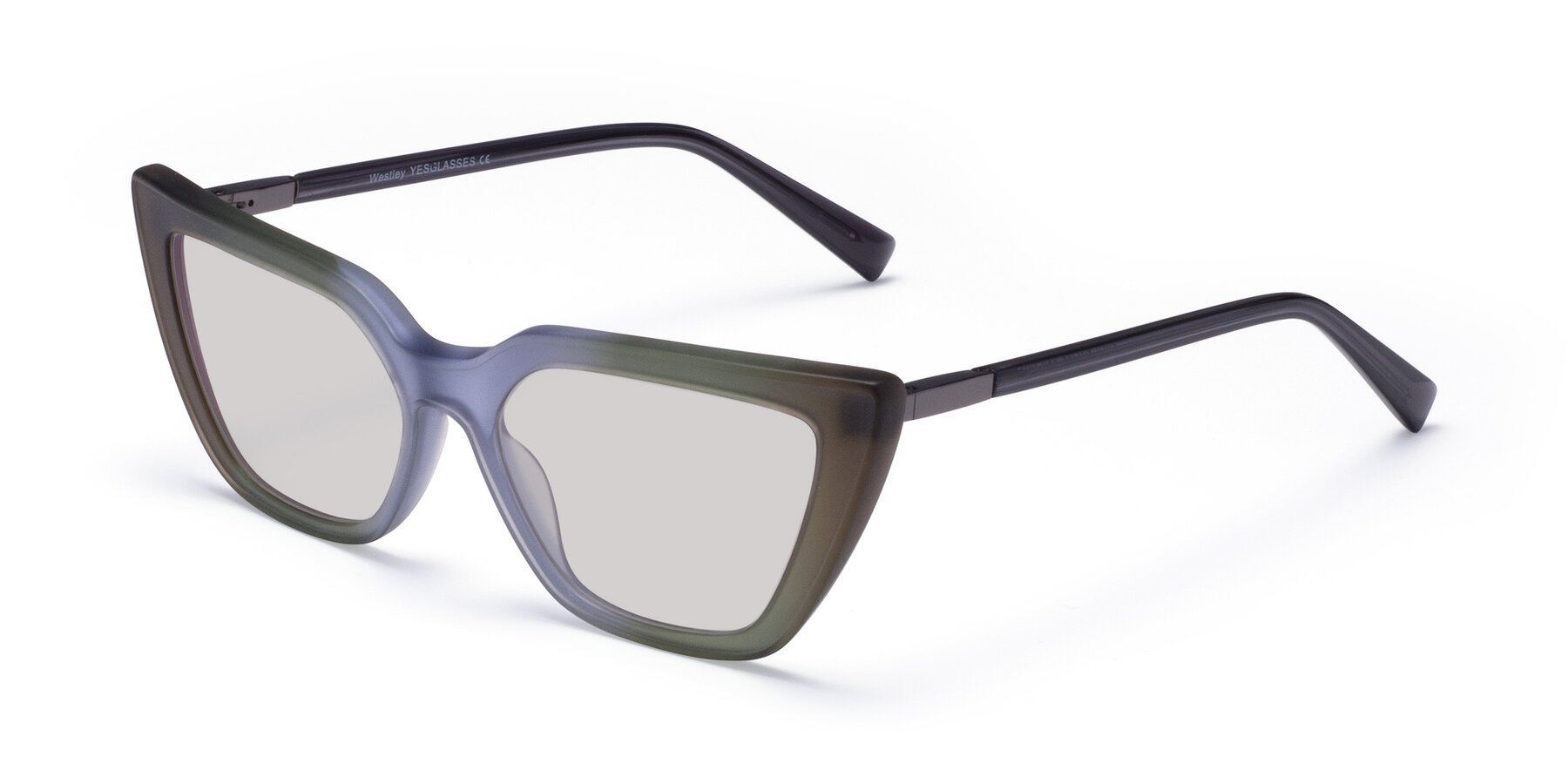 Angle of Westley in Gradient Green with Light Gray Tinted Lenses