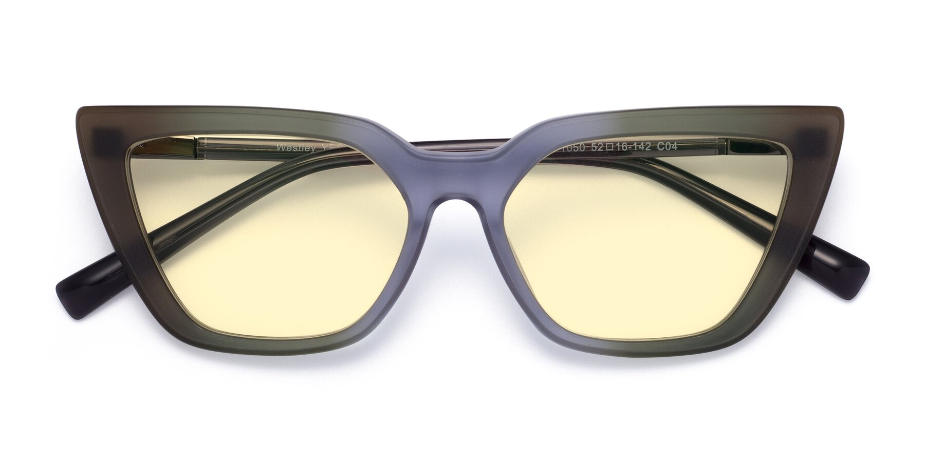 Folded Front of Westley in Gradient Green with Light Yellow Tinted Lenses