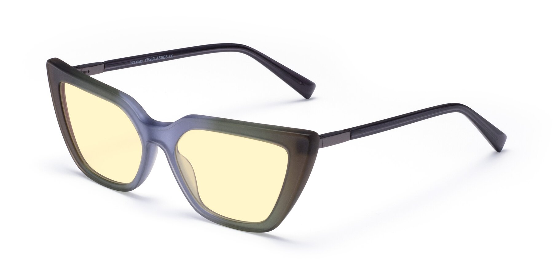 Angle of Westley in Gradient Green with Light Yellow Tinted Lenses
