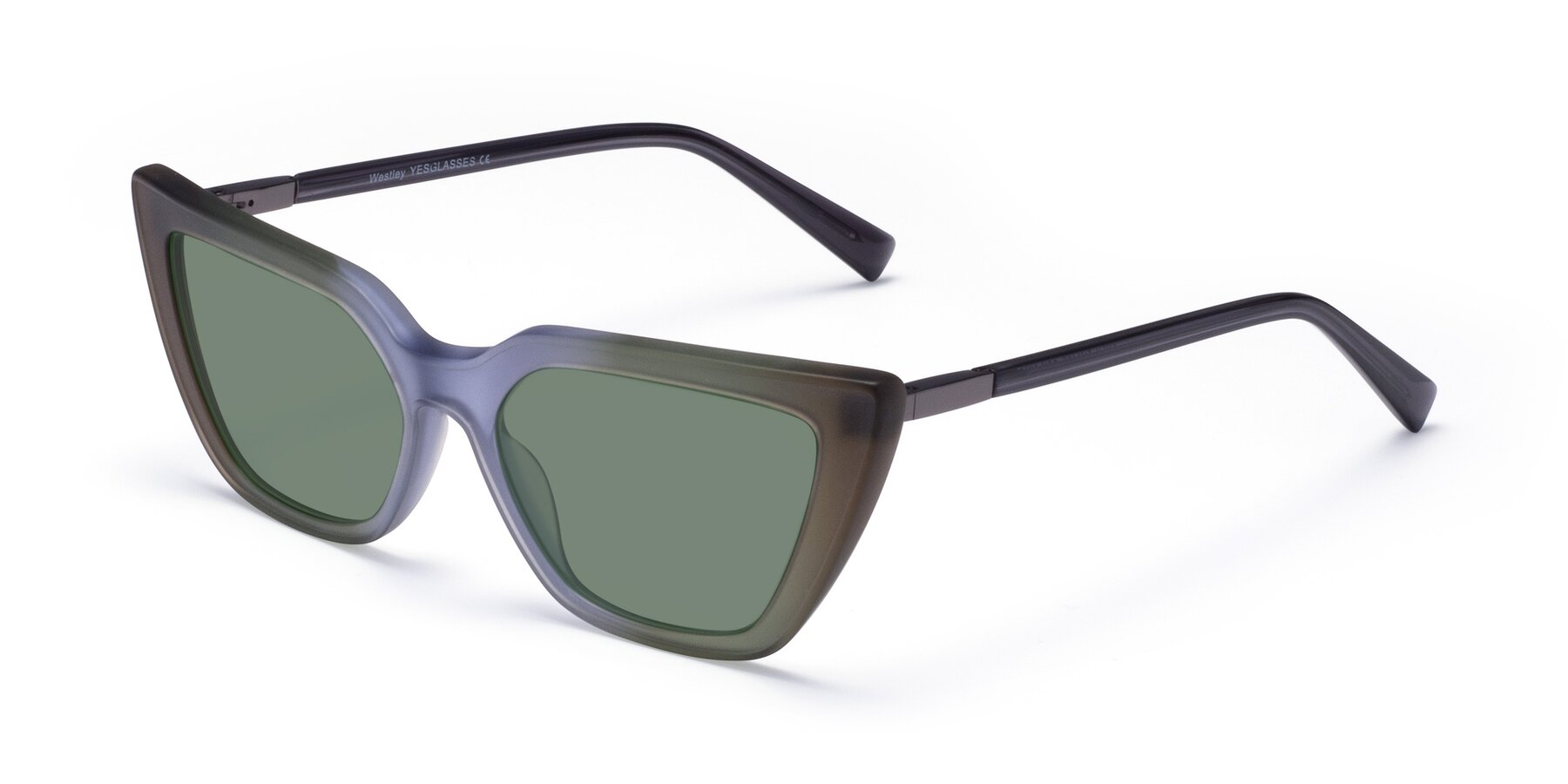 Angle of Westley in Gradient Green with Medium Green Tinted Lenses