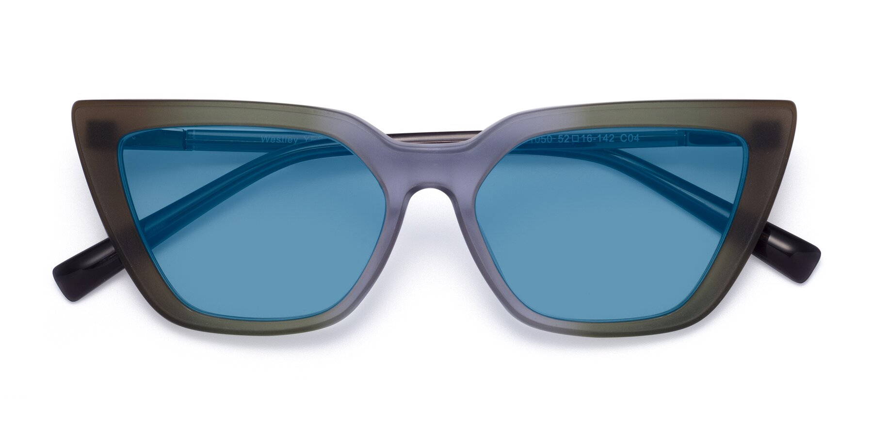 Folded Front of Westley in Gradient Green with Medium Blue Tinted Lenses