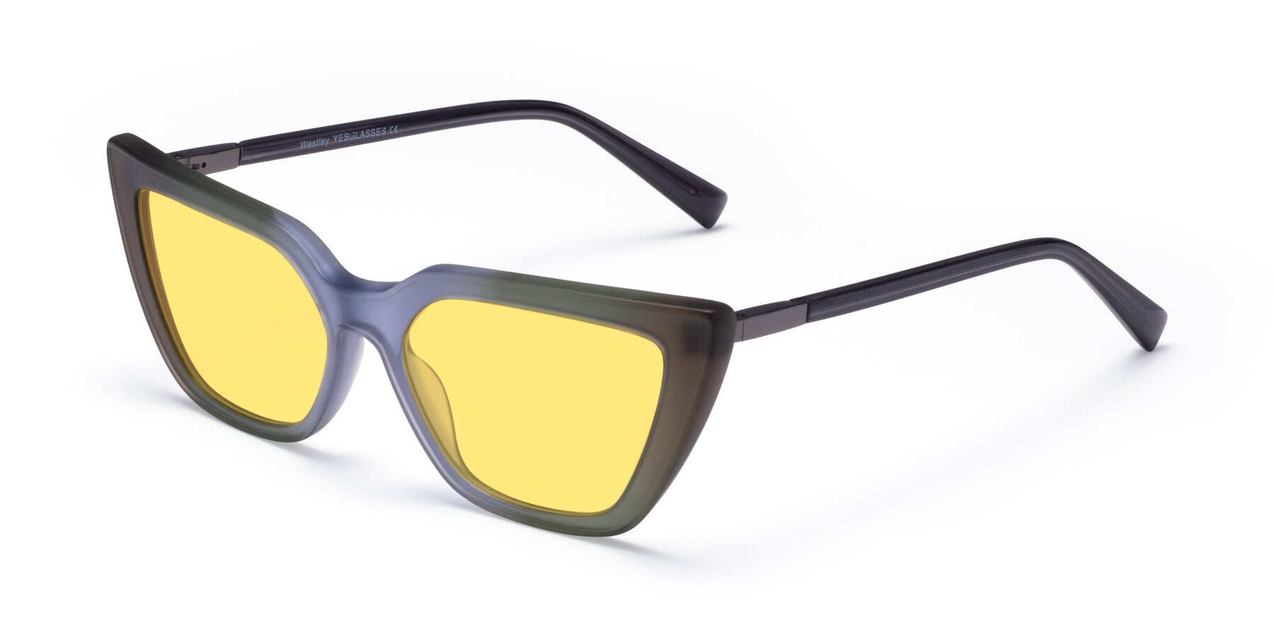 Angle of Westley in Gradient Green with Medium Yellow Tinted Lenses