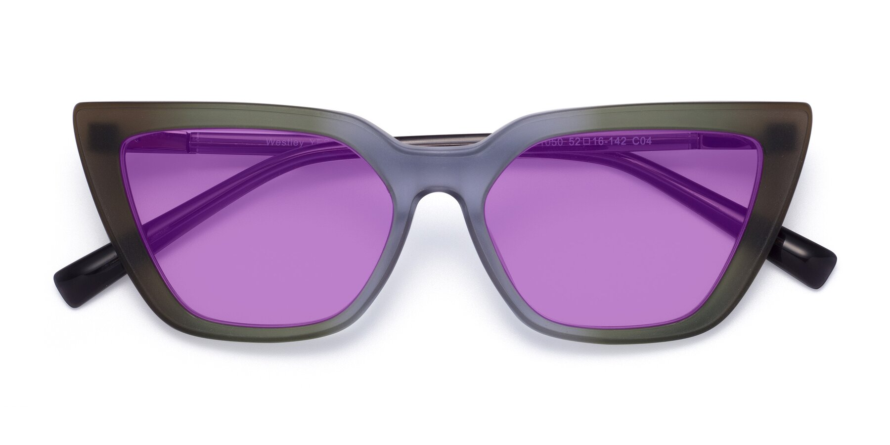 Folded Front of Westley in Gradient Green with Medium Purple Tinted Lenses