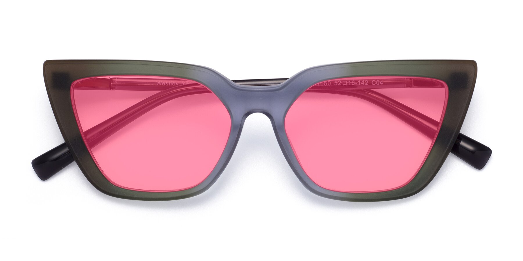 Folded Front of Westley in Gradient Green with Pink Tinted Lenses