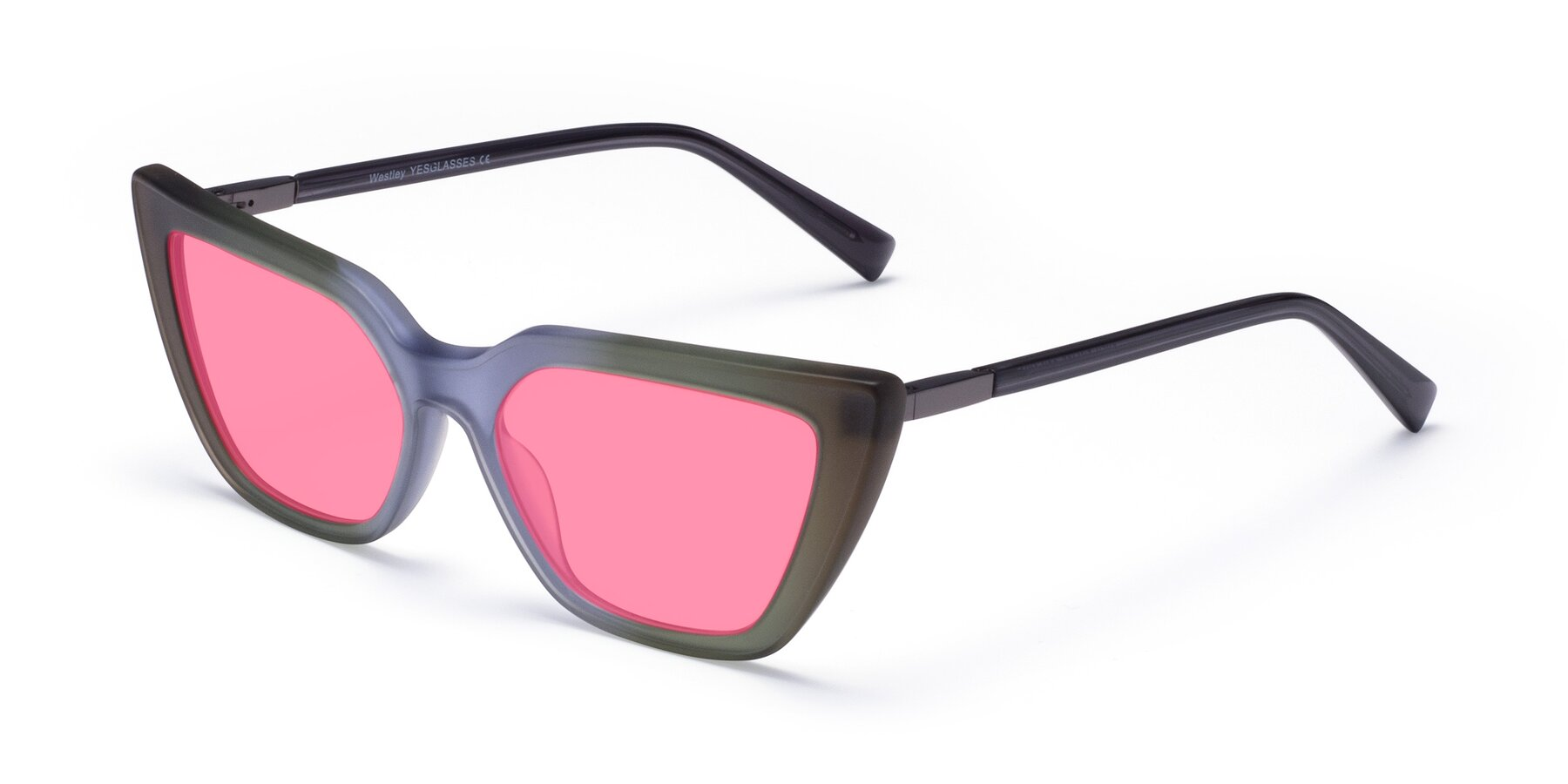 Angle of Westley in Gradient Green with Pink Tinted Lenses
