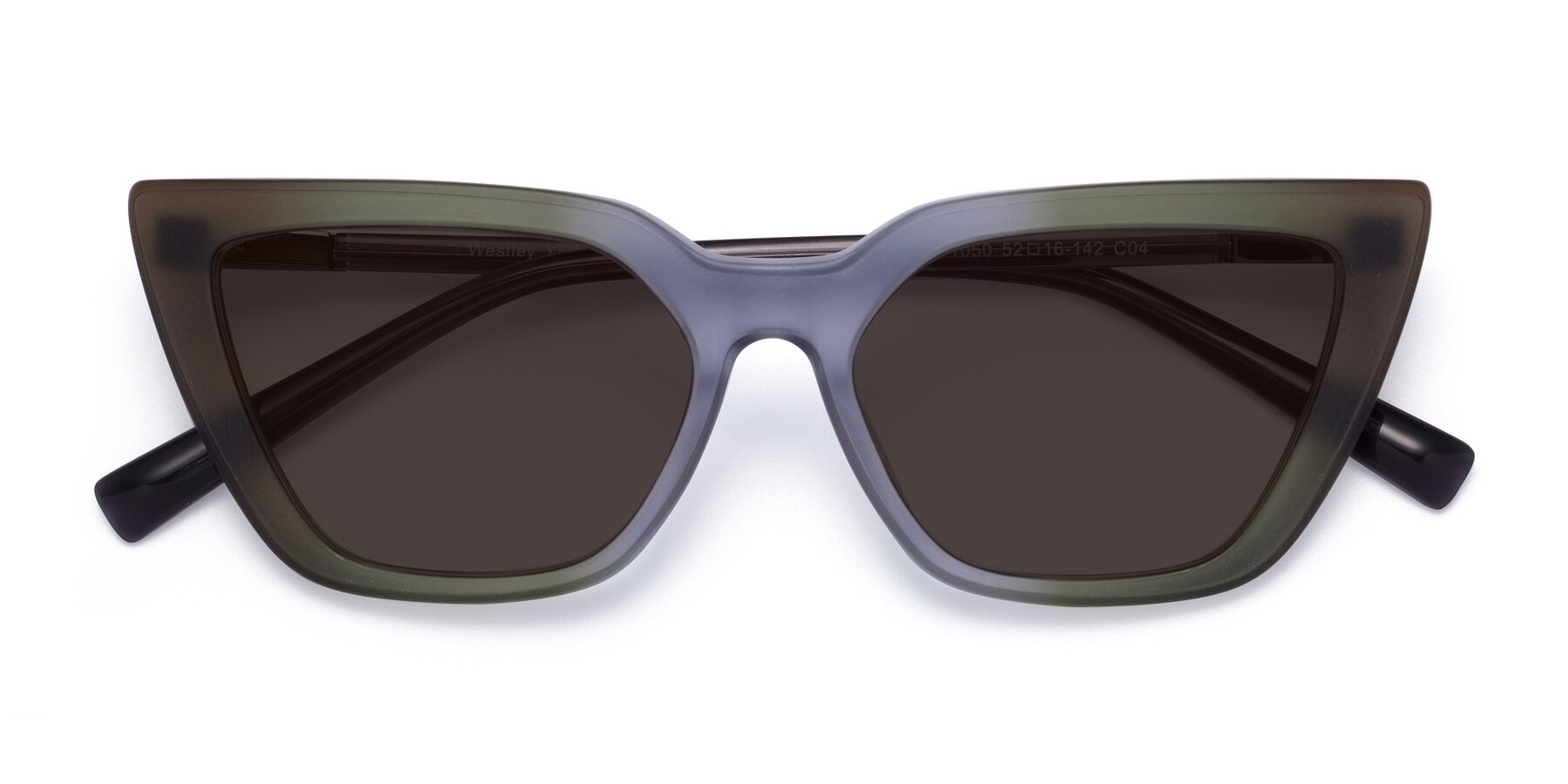 Folded Front of Westley in Gradient Green with Gray Tinted Lenses