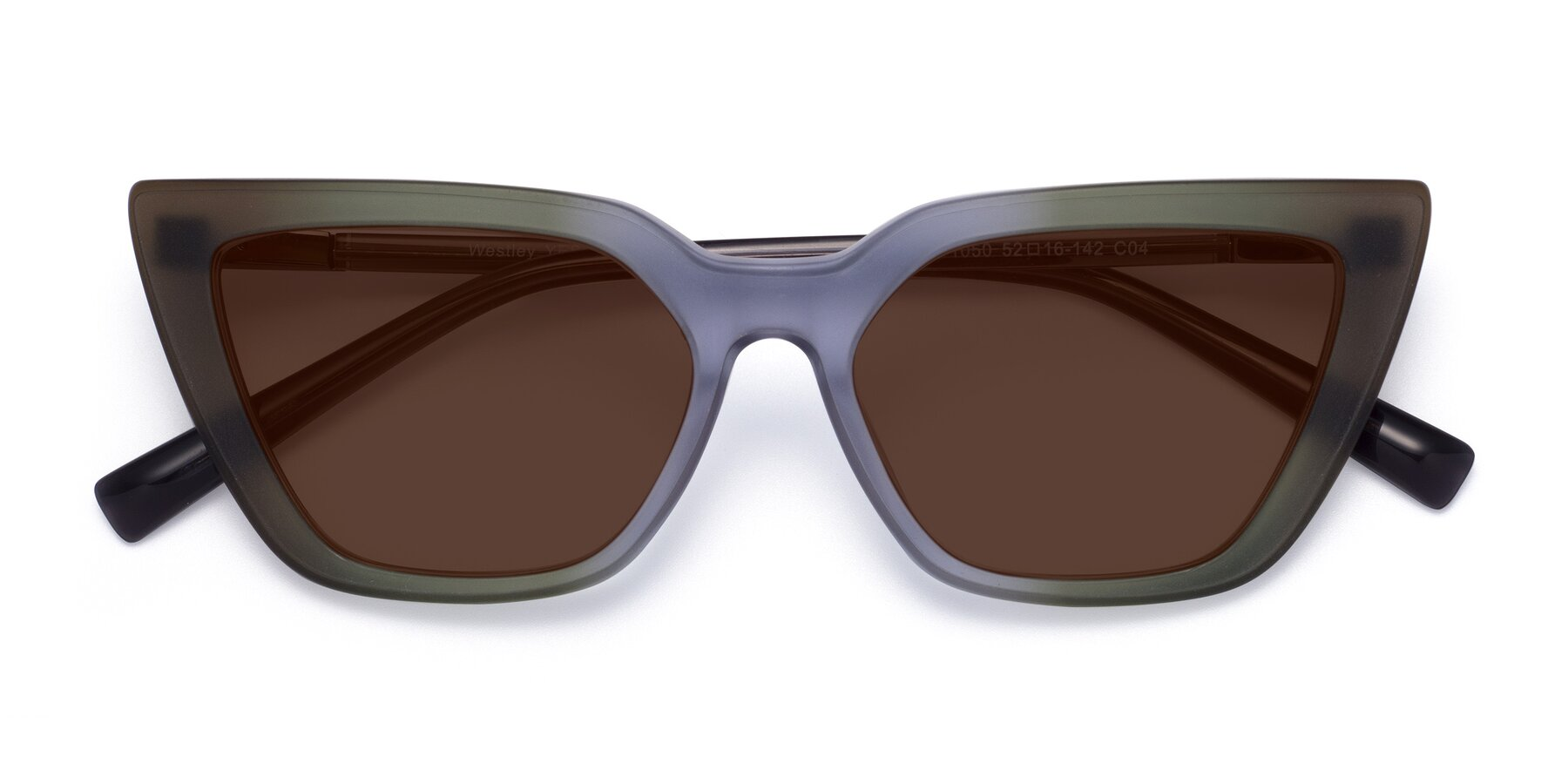 Folded Front of Westley in Gradient Green with Brown Tinted Lenses