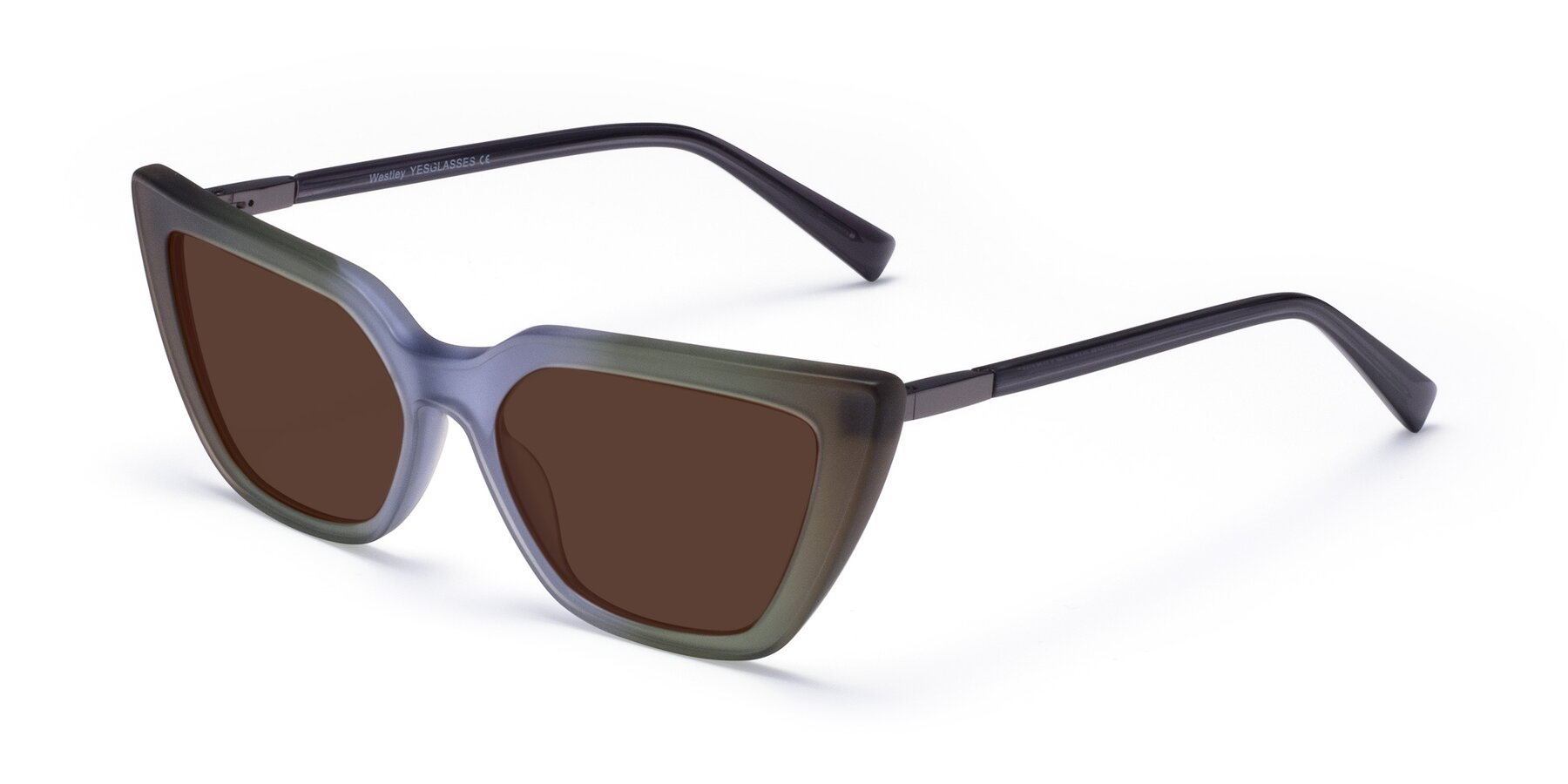 Angle of Westley in Gradient Green with Brown Tinted Lenses