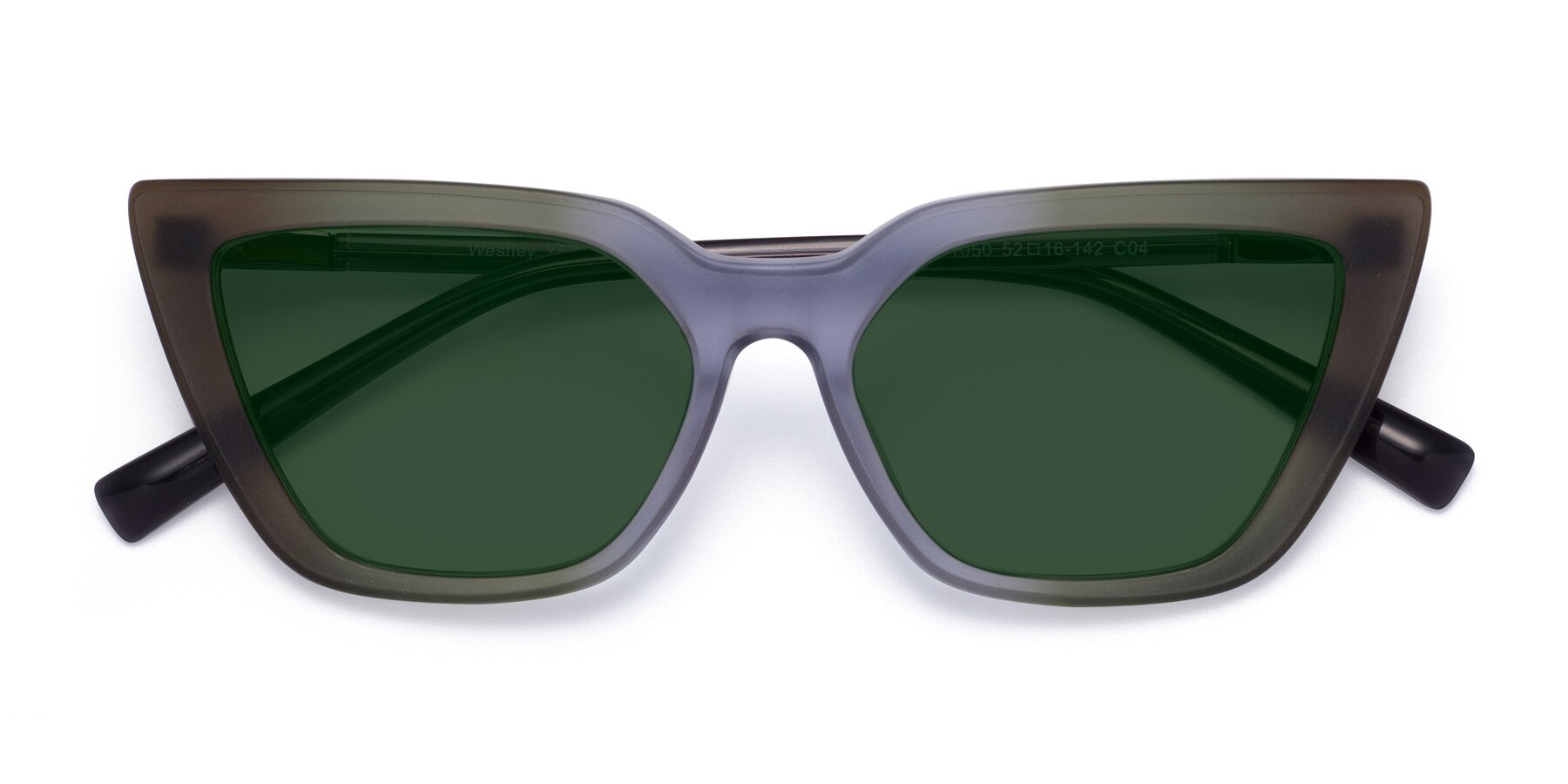 Folded Front of Westley in Gradient Green with Green Tinted Lenses