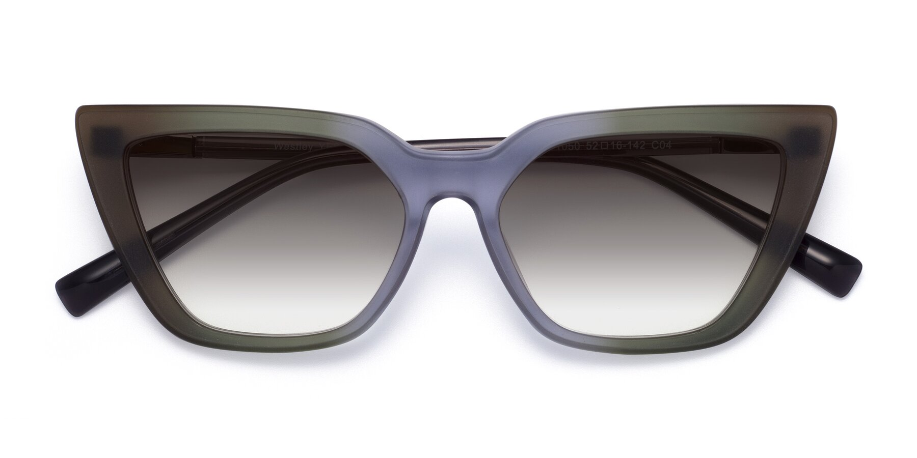 Folded Front of Westley in Gradient Green with Gray Gradient Lenses