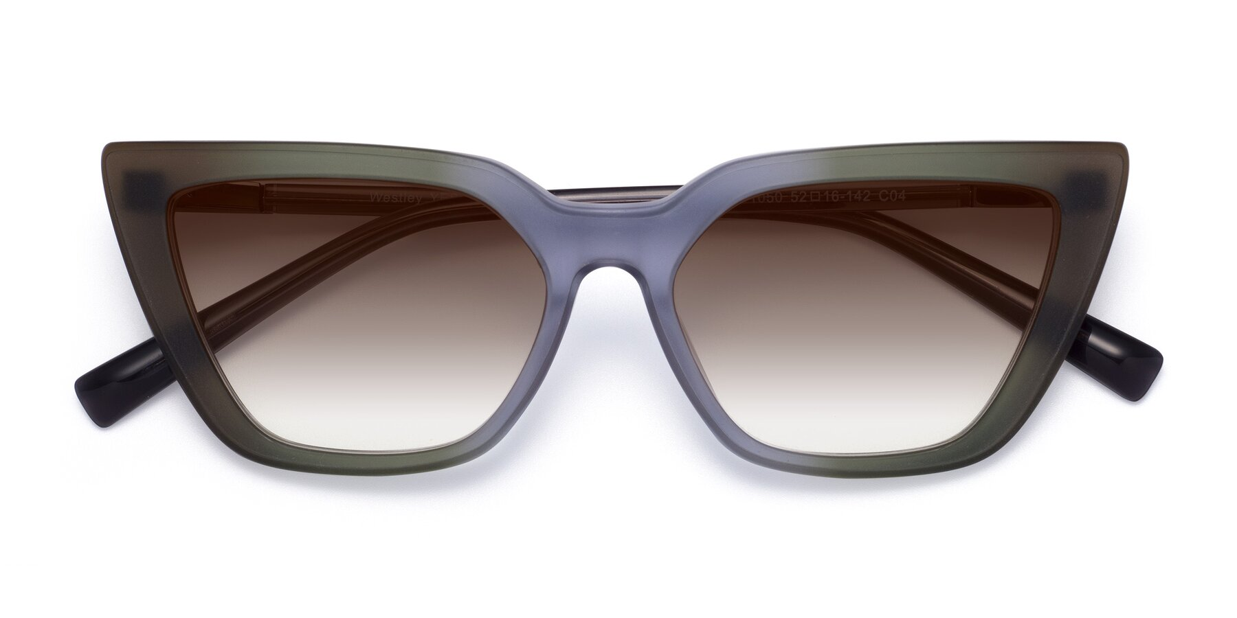 Folded Front of Westley in Gradient Green with Brown Gradient Lenses