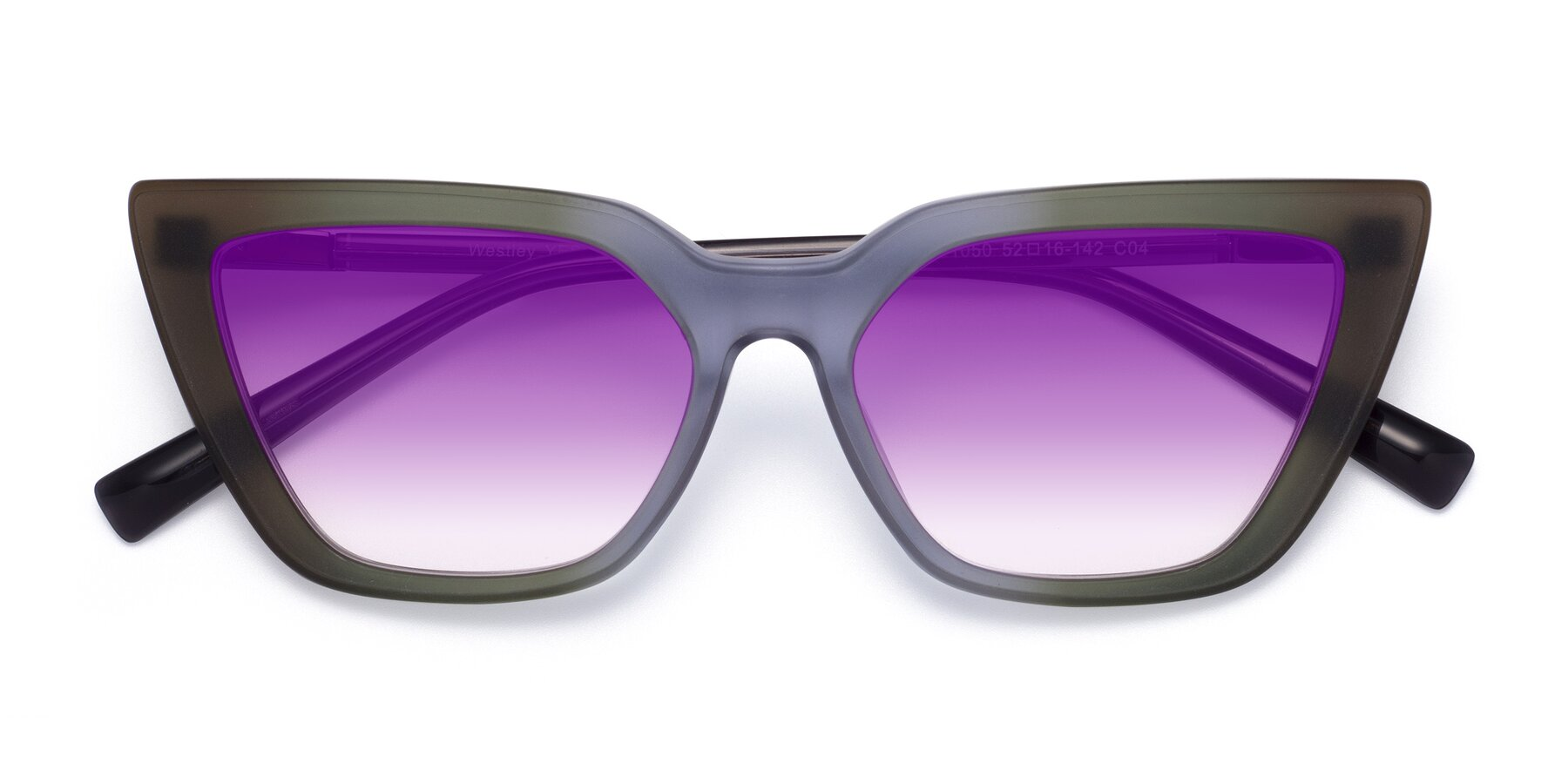 Folded Front of Westley in Gradient Green with Purple Gradient Lenses
