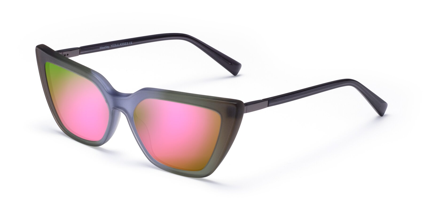 Angle of Westley in Gradient Green with Pink Mirrored Lenses