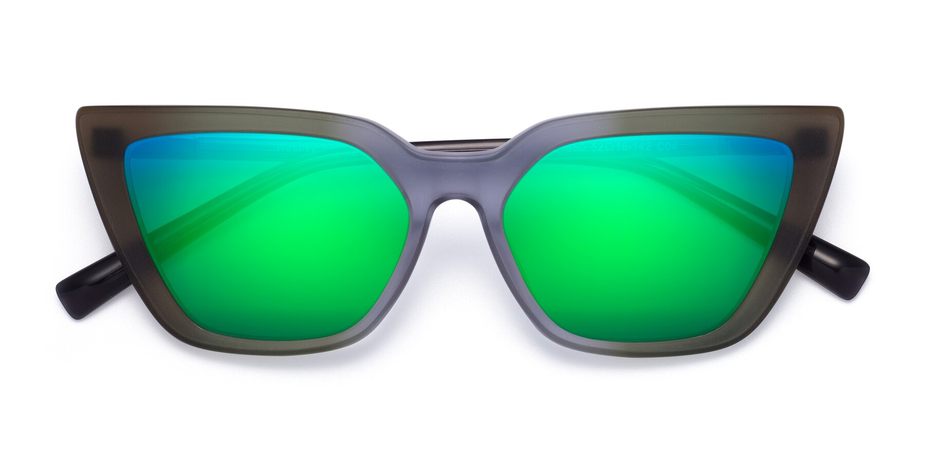 Folded Front of Westley in Gradient Green with Green Mirrored Lenses