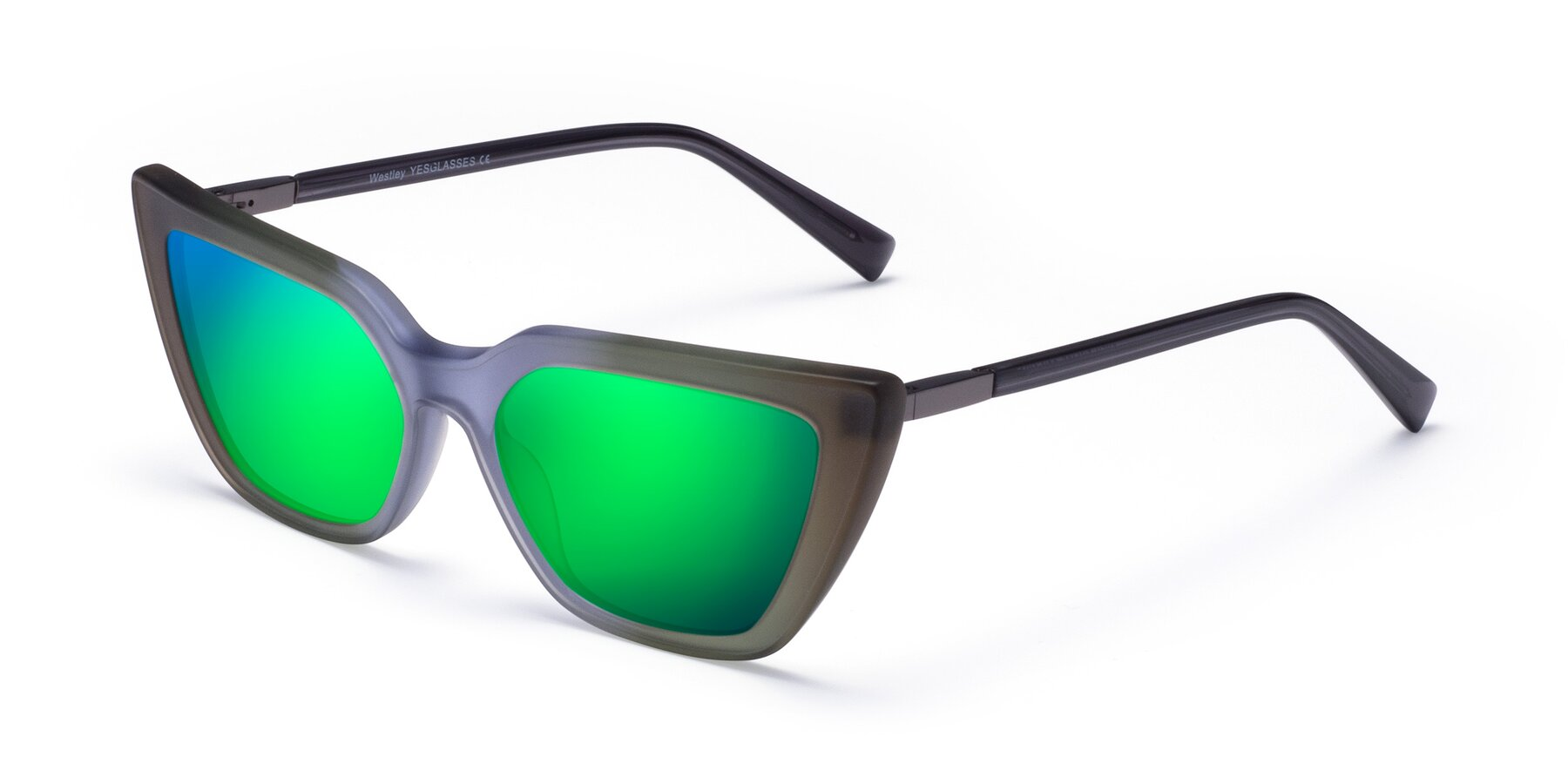 Angle of Westley in Gradient Green with Green Mirrored Lenses