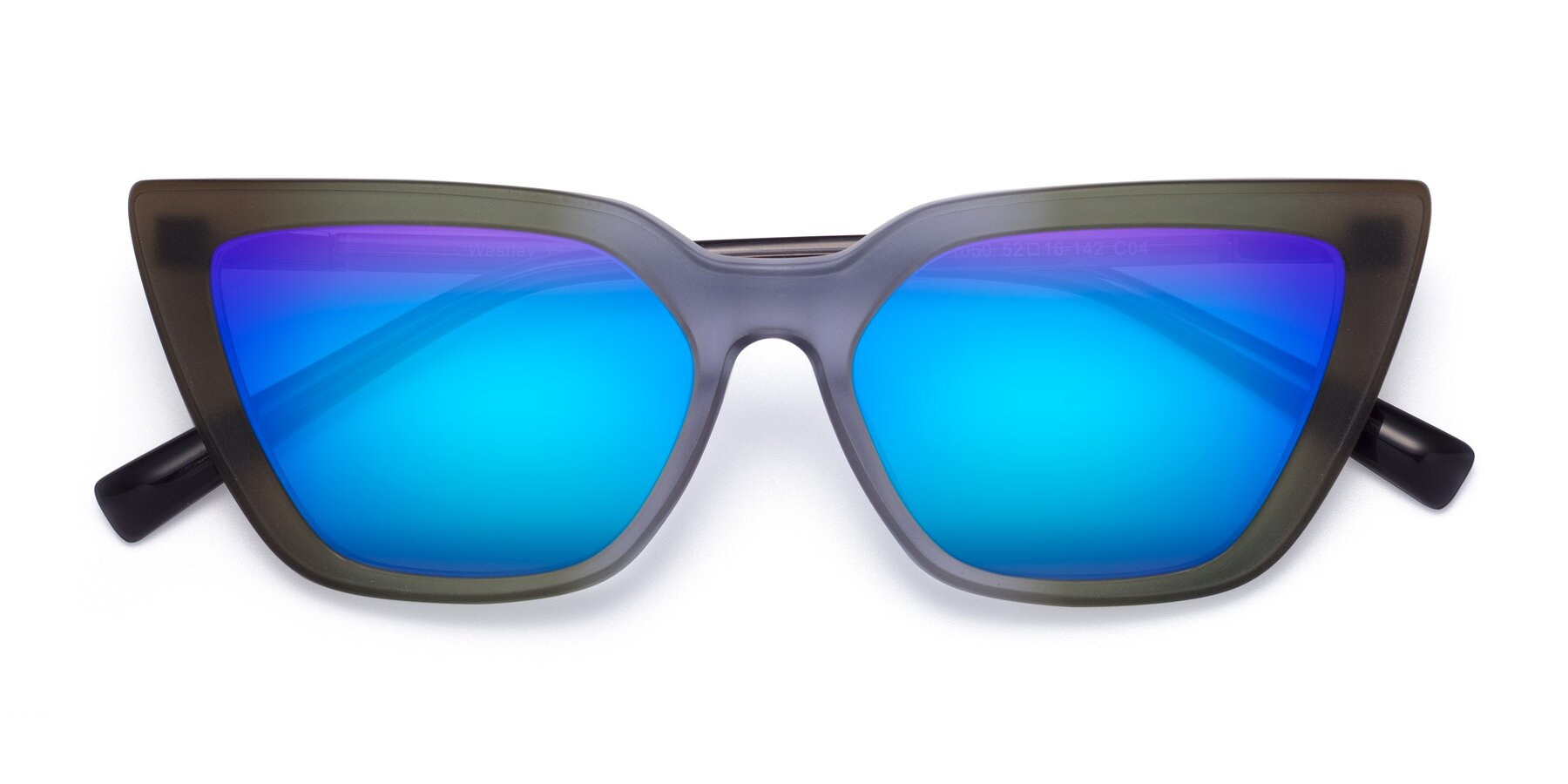 Folded Front of Westley in Gradient Green with Blue Mirrored Lenses