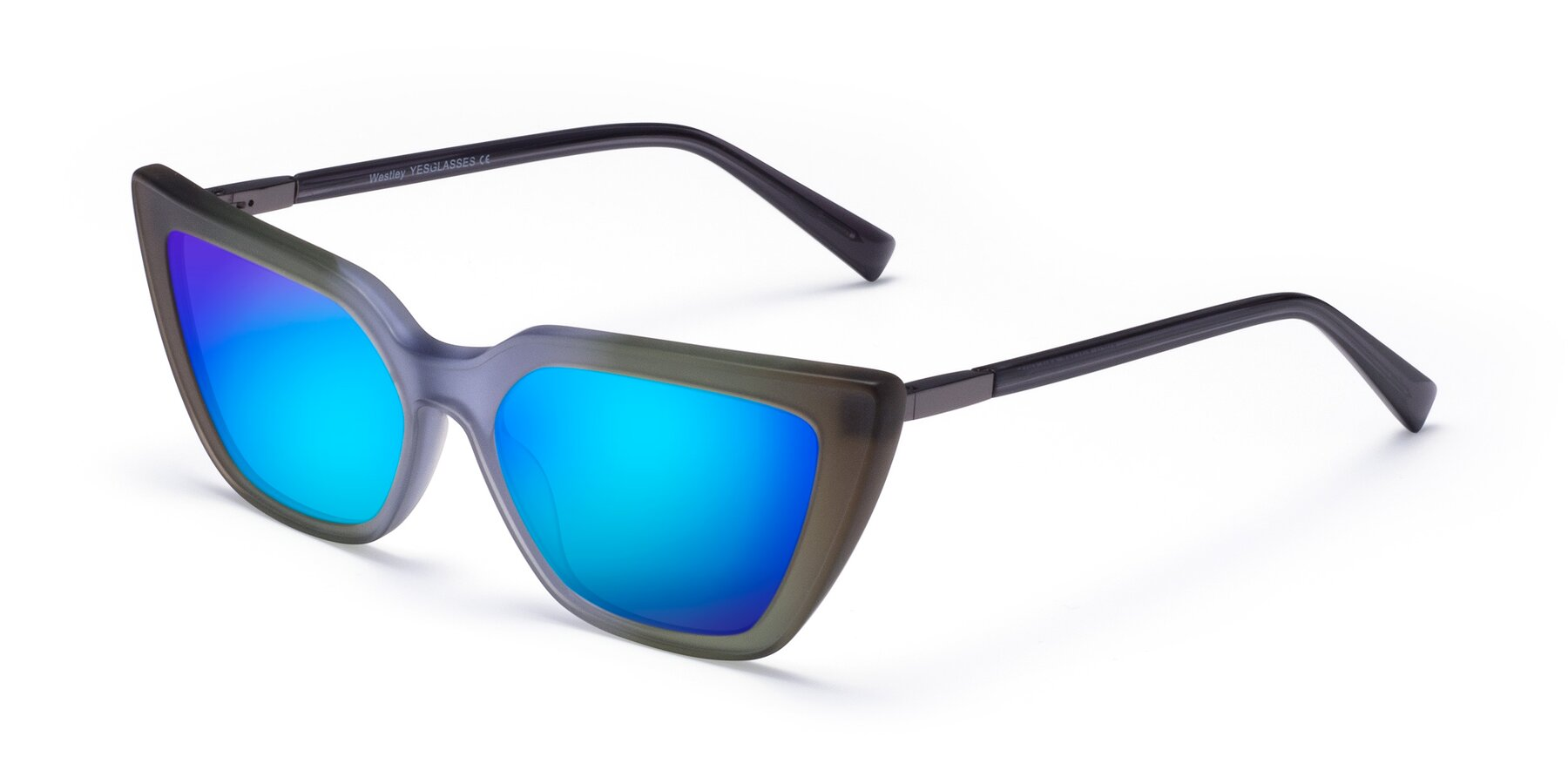 Angle of Westley in Gradient Green with Blue Mirrored Lenses