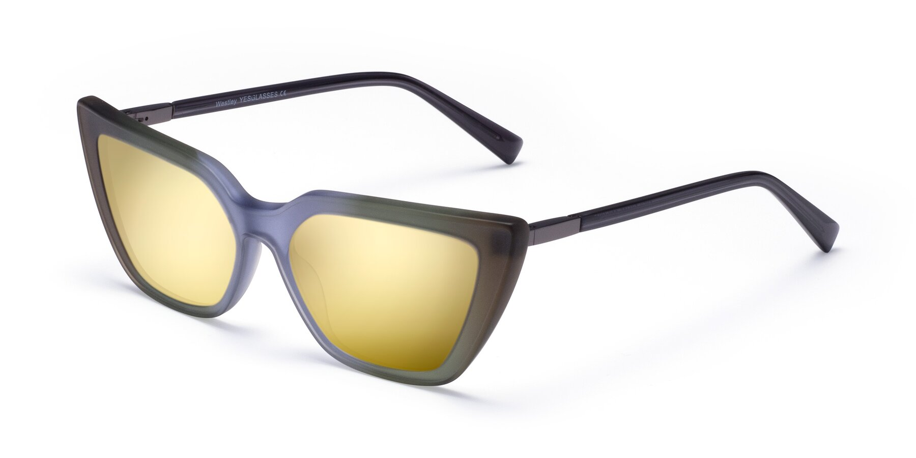 Angle of Westley in Gradient Green with Gold Mirrored Lenses