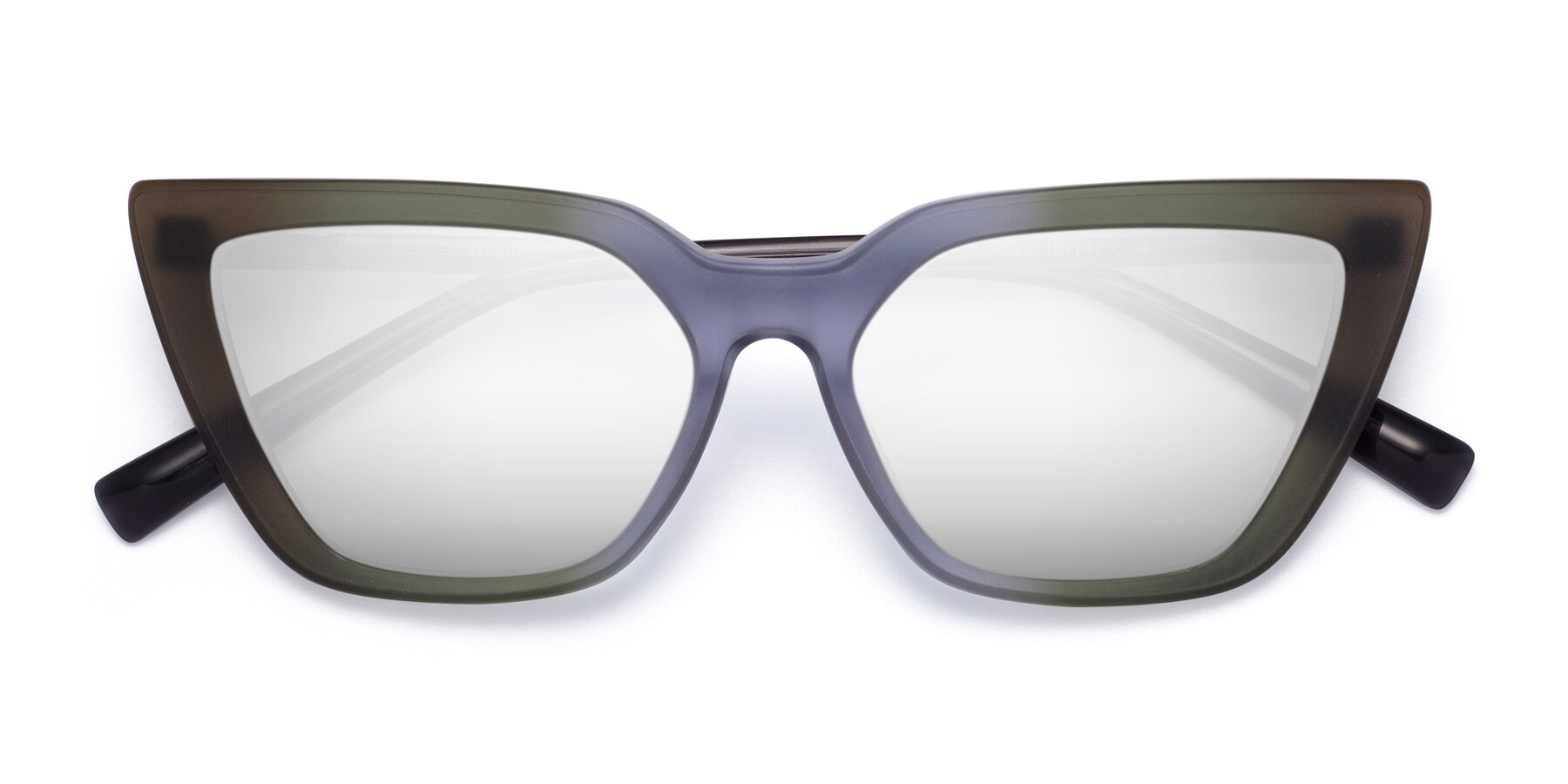 Folded Front of Westley in Gradient Green with Silver Mirrored Lenses