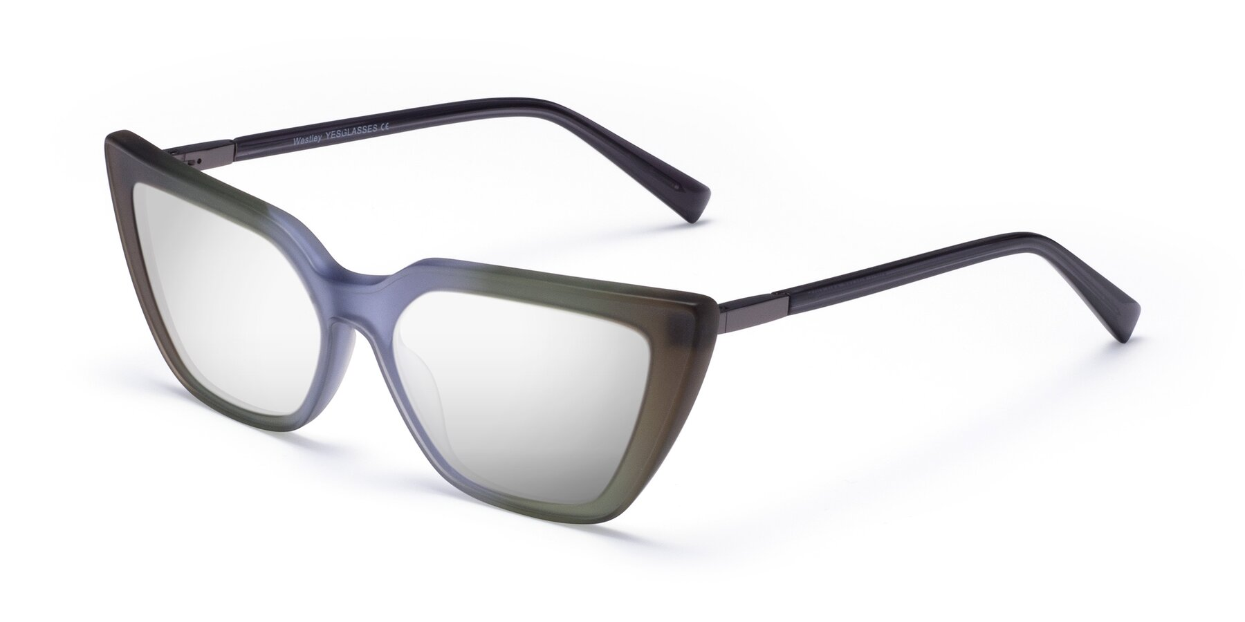 Angle of Westley in Gradient Green with Silver Mirrored Lenses