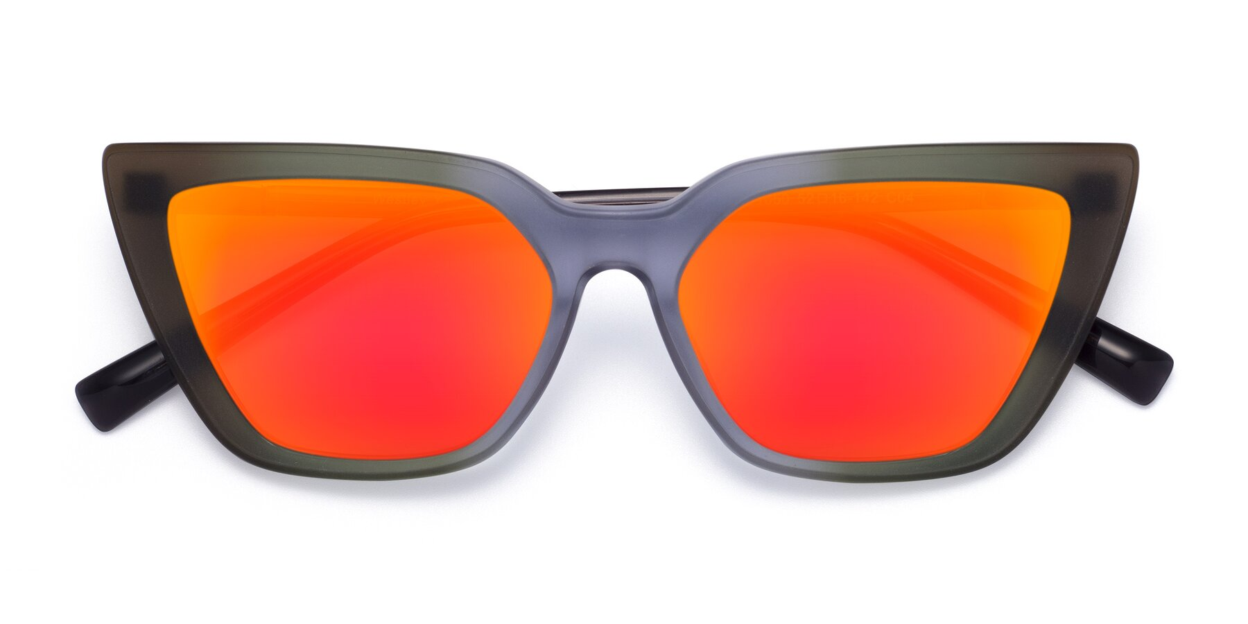 Folded Front of Westley in Gradient Green with Red Gold Mirrored Lenses