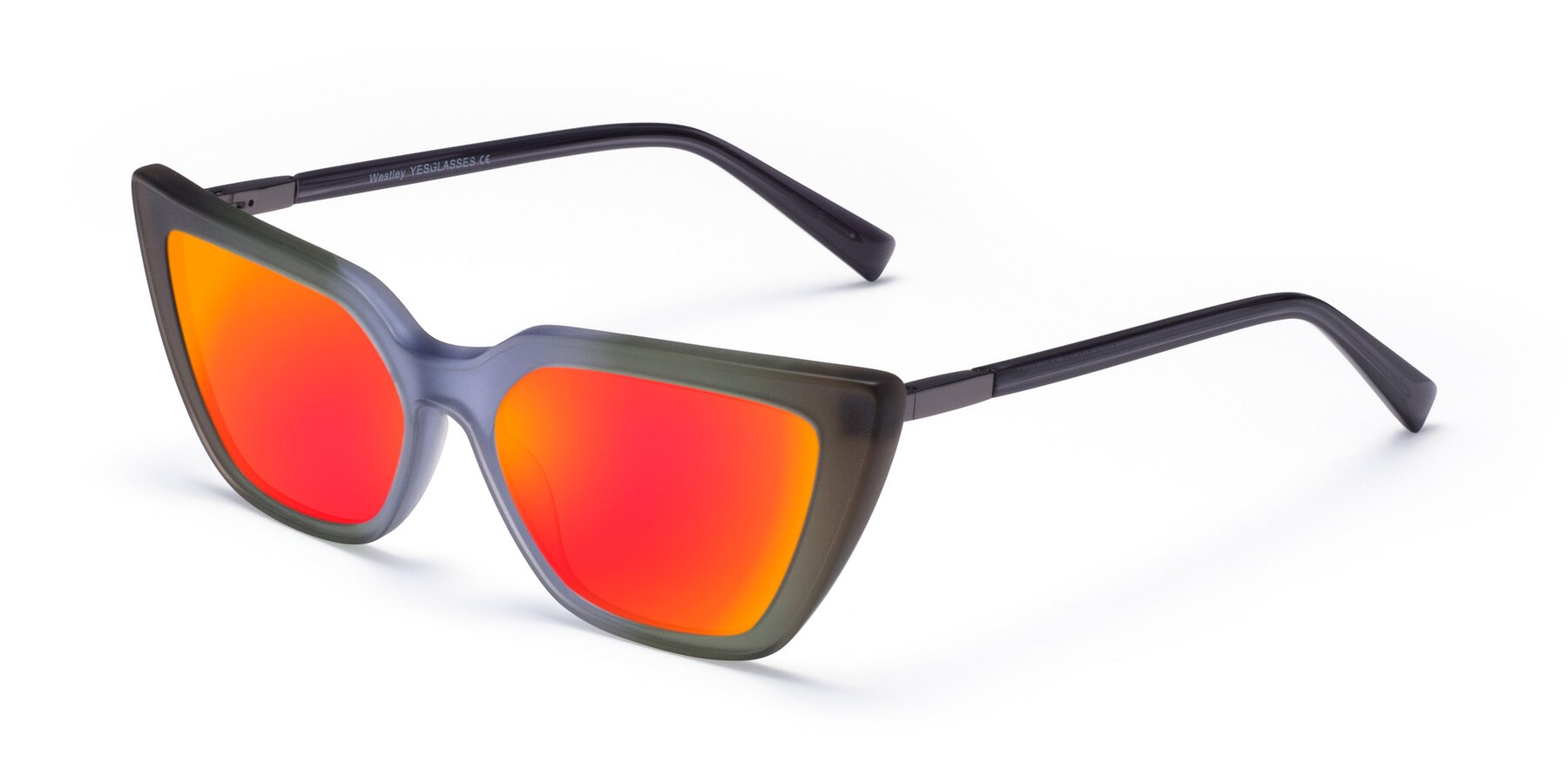 Angle of Westley in Gradient Green with Red Gold Mirrored Lenses
