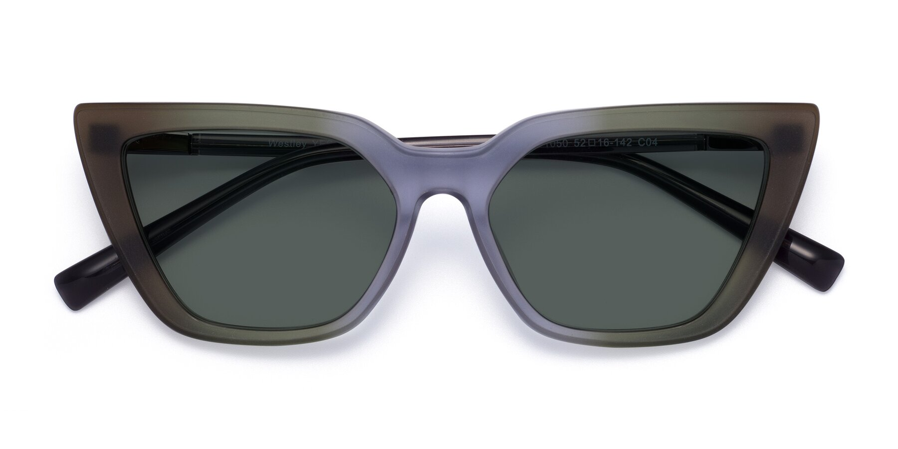 Folded Front of Westley in Gradient Green with Gray Polarized Lenses