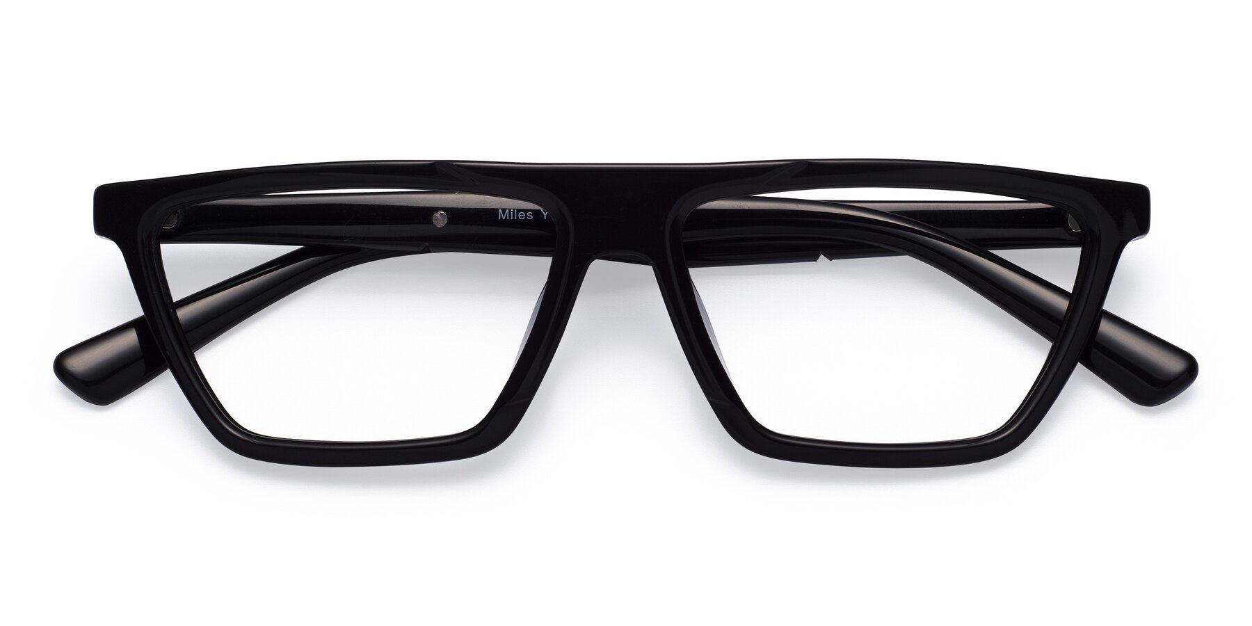 Folded Front of Miles in Black with Clear Blue Light Blocking Lenses