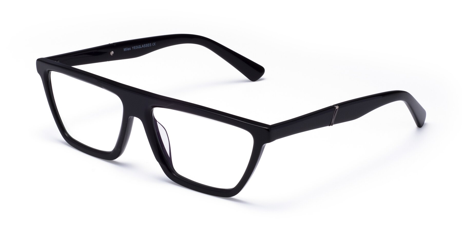 Angle of Miles in Black with Clear Blue Light Blocking Lenses