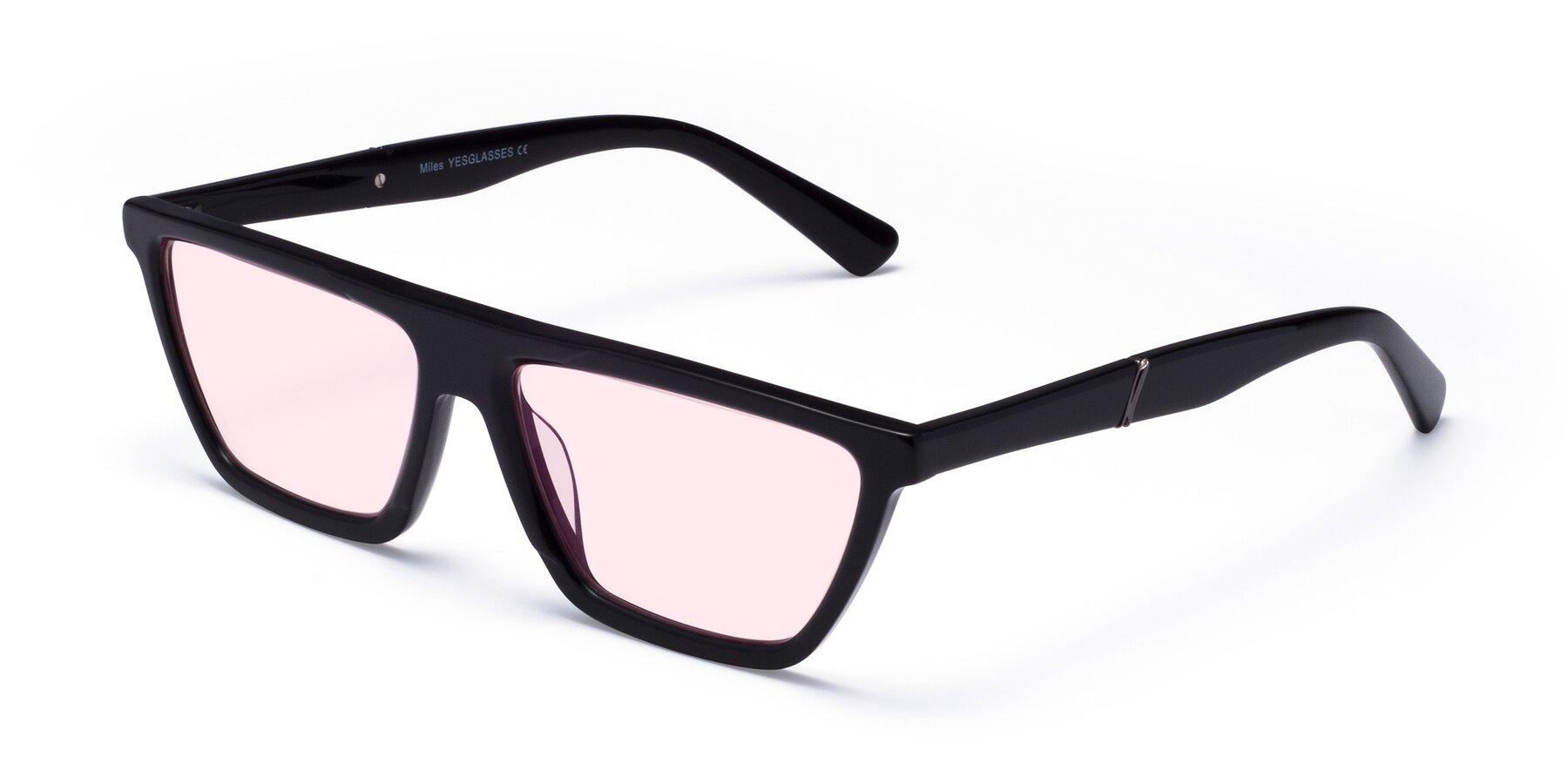 Angle of Miles in Black with Light Pink Tinted Lenses