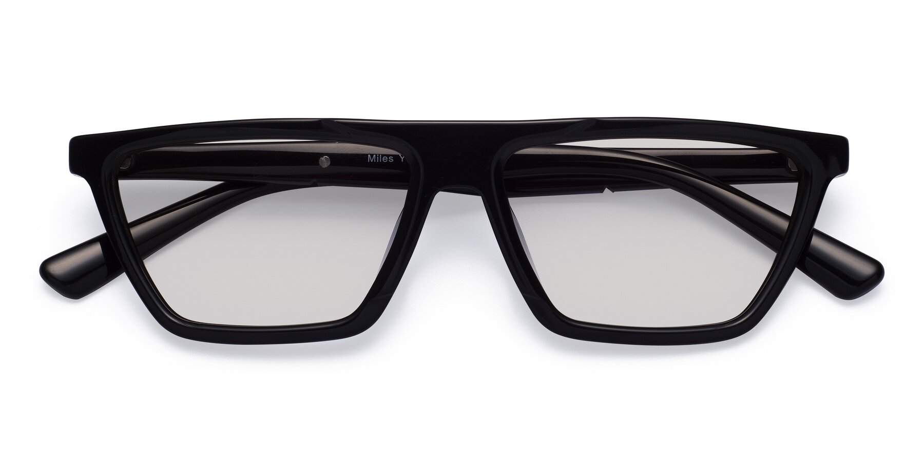 Folded Front of Miles in Black with Light Gray Tinted Lenses