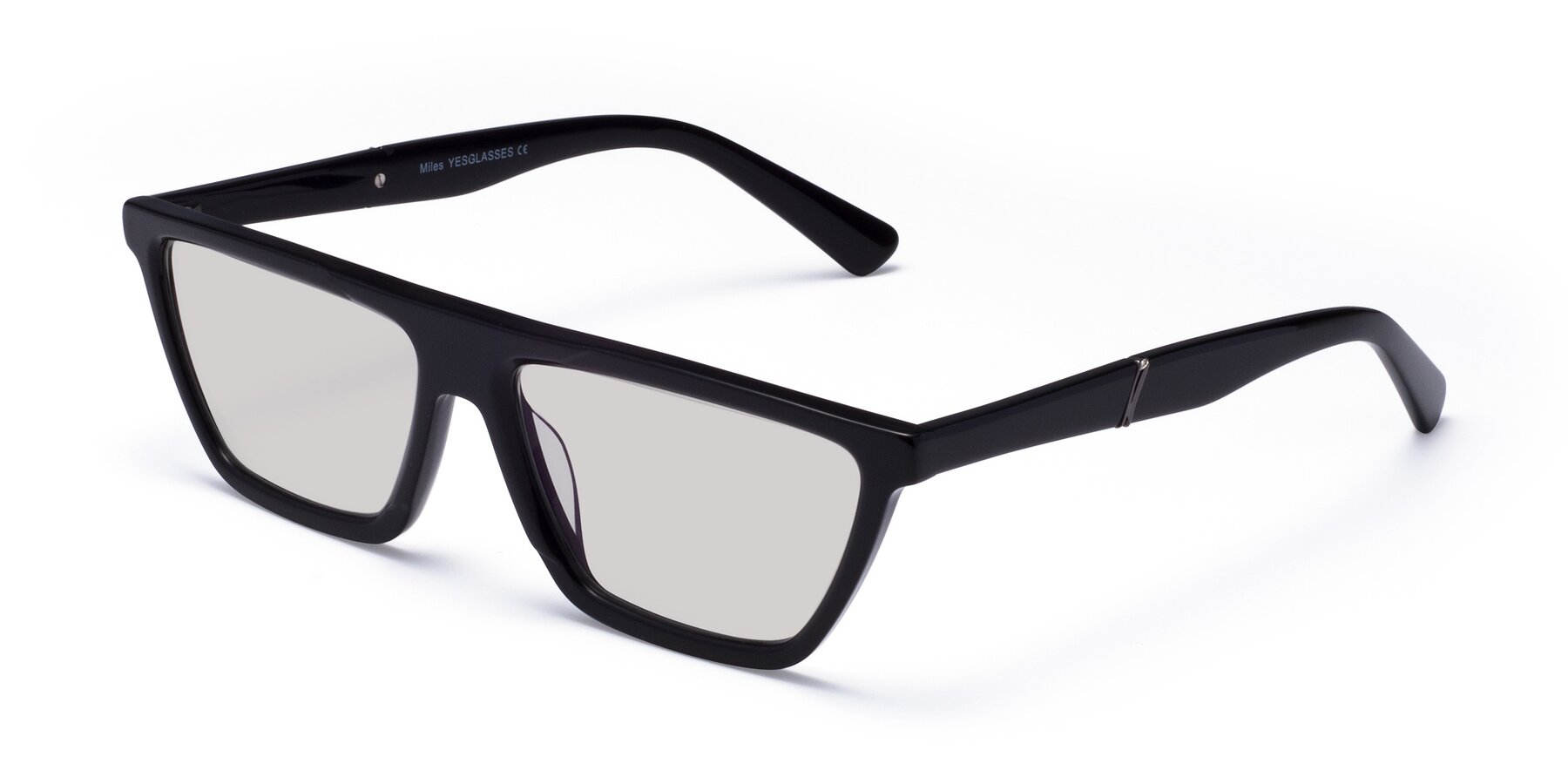 Angle of Miles in Black with Light Gray Tinted Lenses
