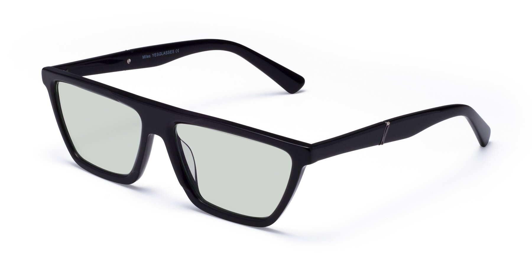 Angle of Miles in Black with Light Green Tinted Lenses