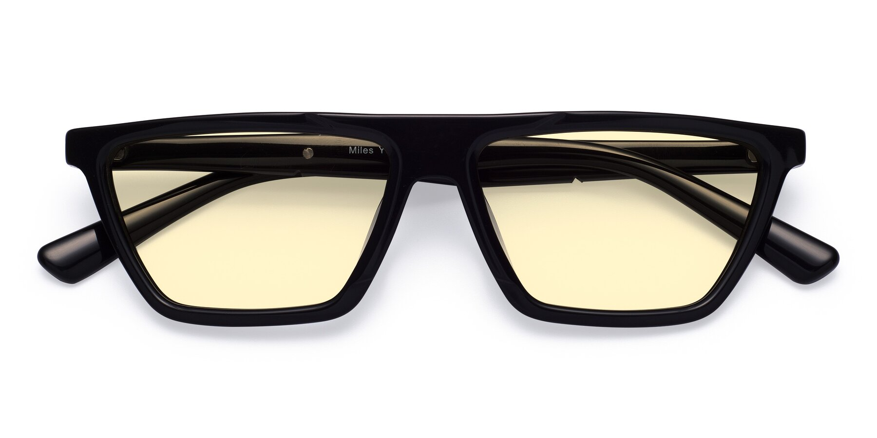 Folded Front of Miles in Black with Light Yellow Tinted Lenses