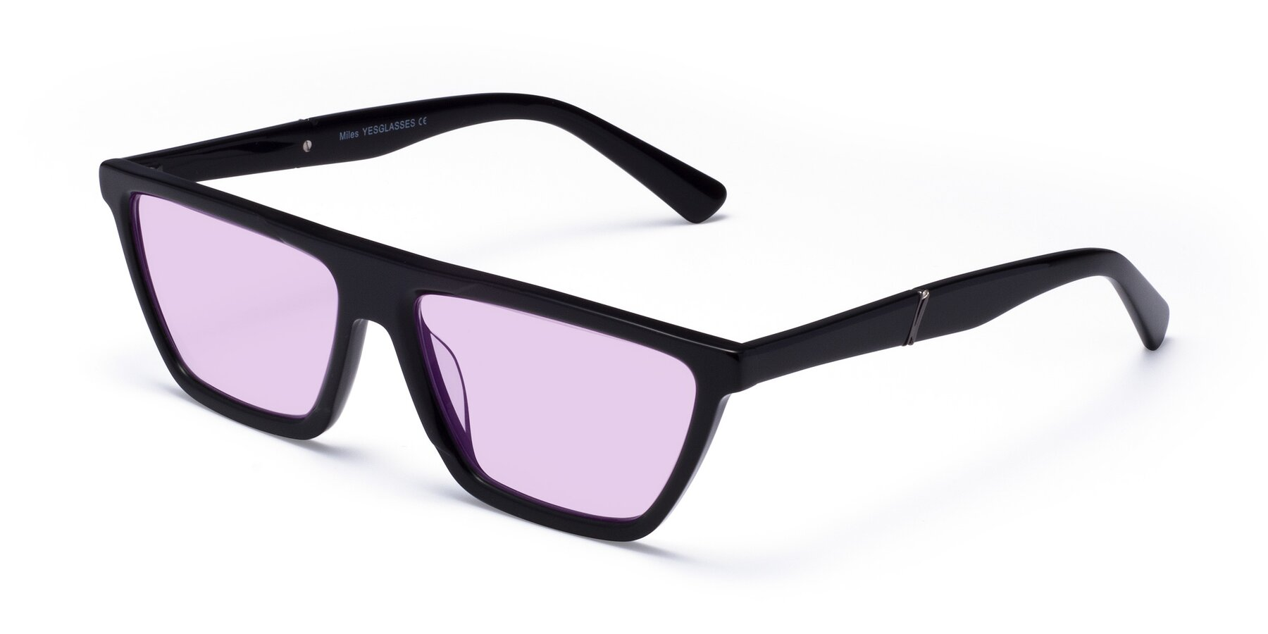 Angle of Miles in Black with Light Purple Tinted Lenses