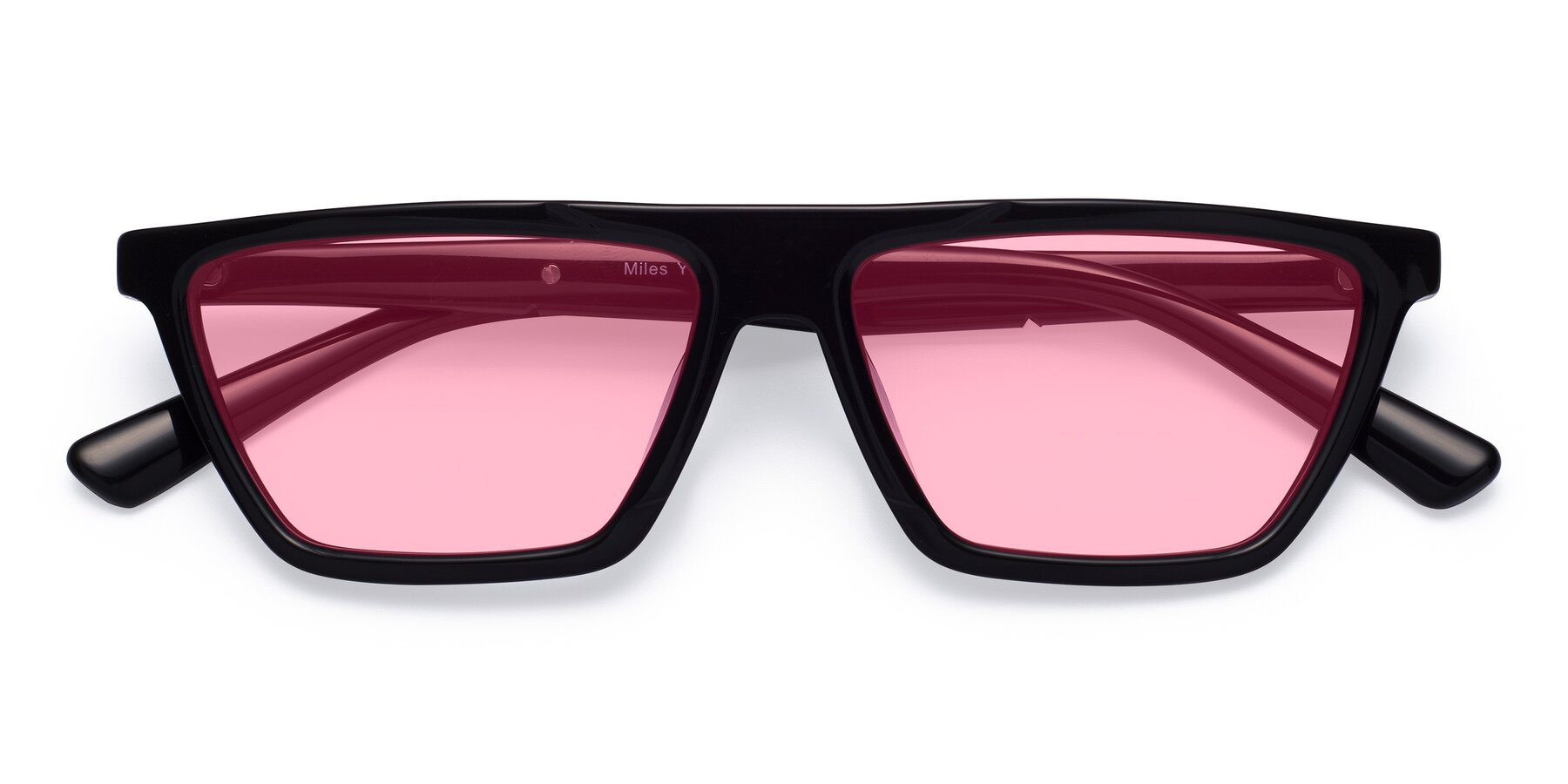 Folded Front of Miles in Black with Medium Pink Tinted Lenses