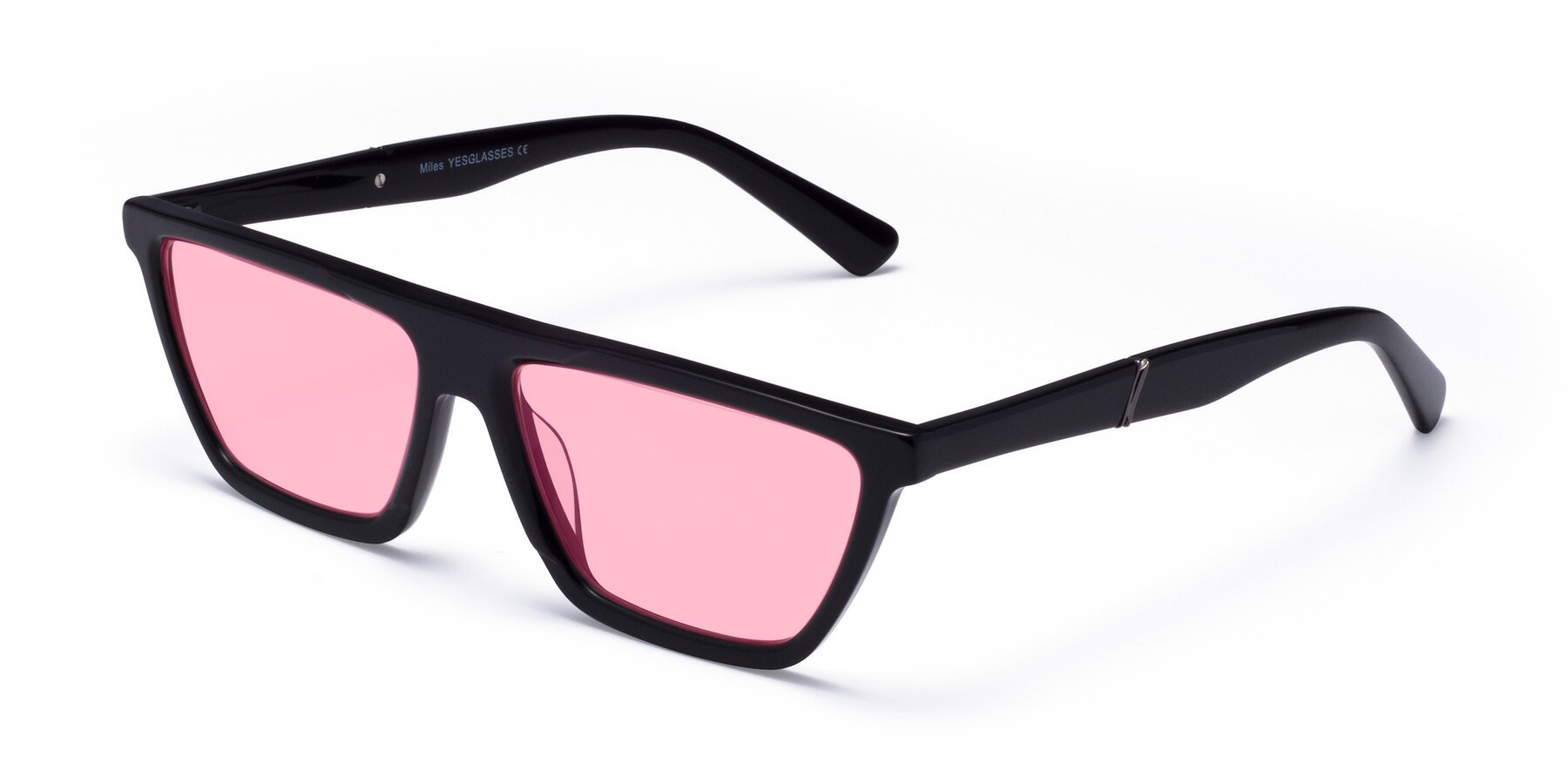 Angle of Miles in Black with Medium Pink Tinted Lenses
