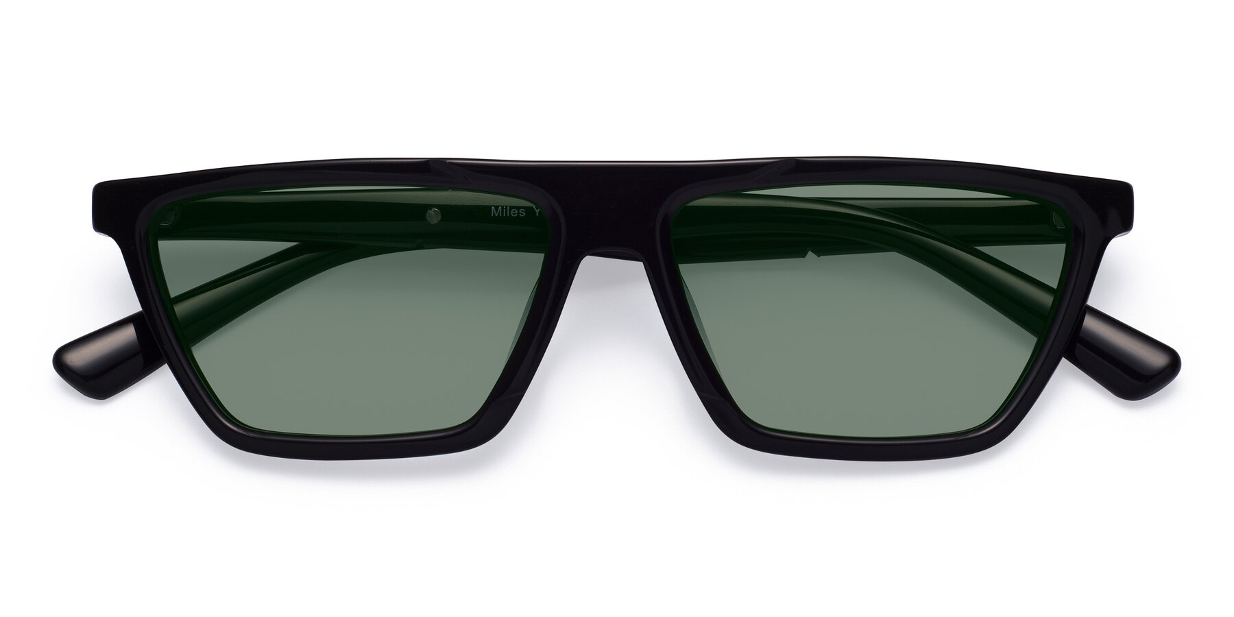 Folded Front of Miles in Black with Medium Green Tinted Lenses