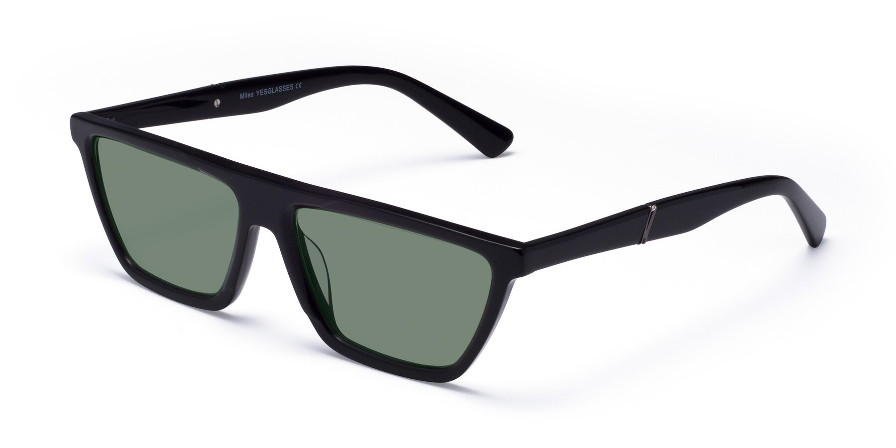 Angle of Miles in Black with Medium Green Tinted Lenses