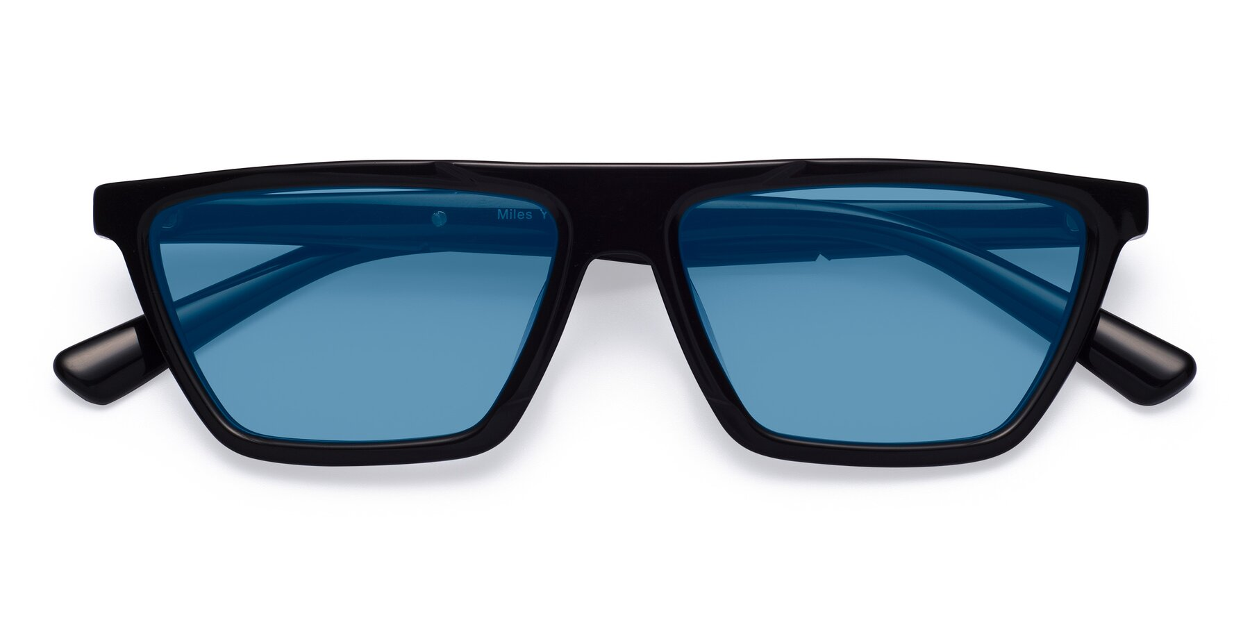 Folded Front of Miles in Black with Medium Blue Tinted Lenses