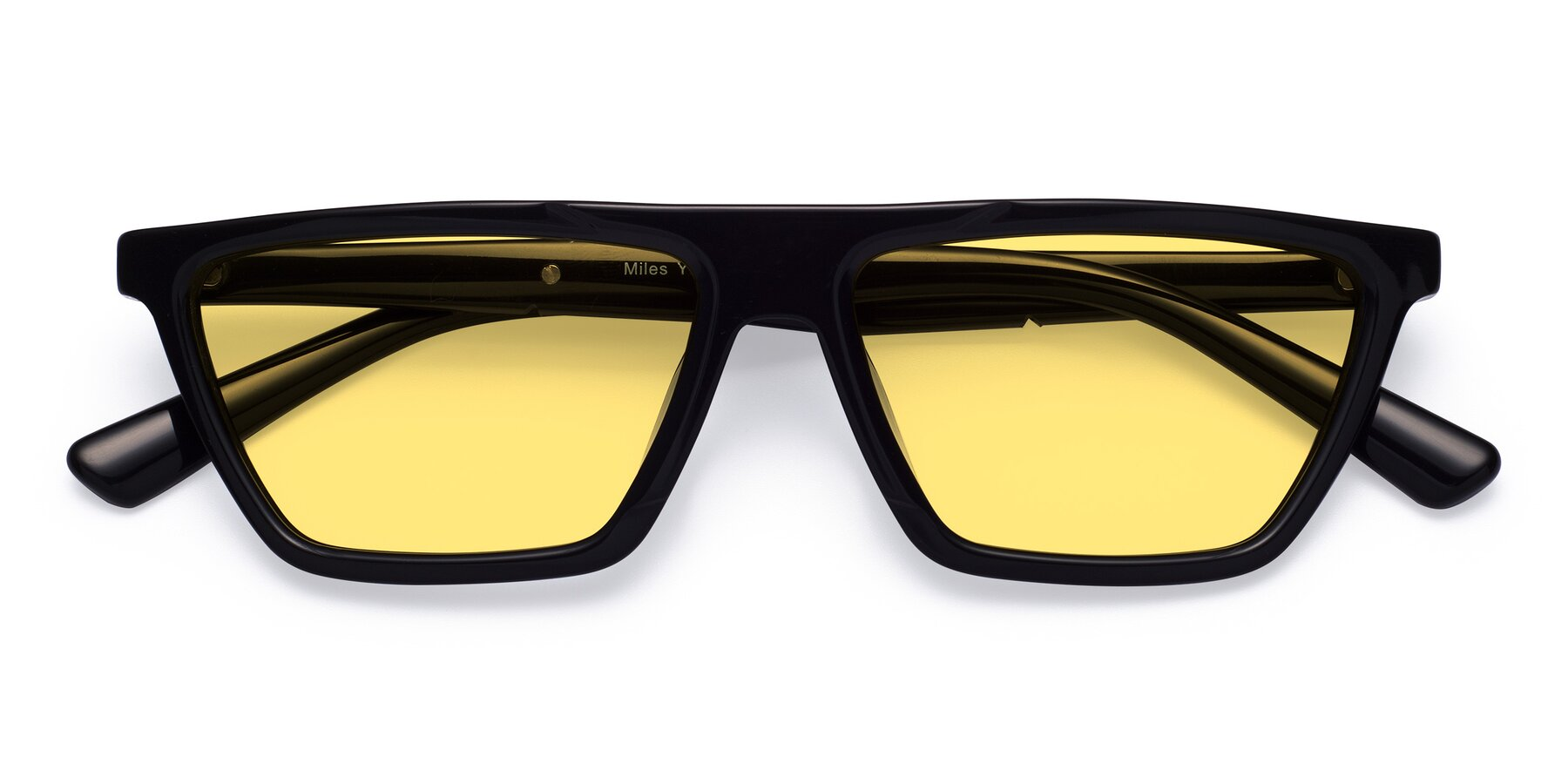 Folded Front of Miles in Black with Medium Yellow Tinted Lenses