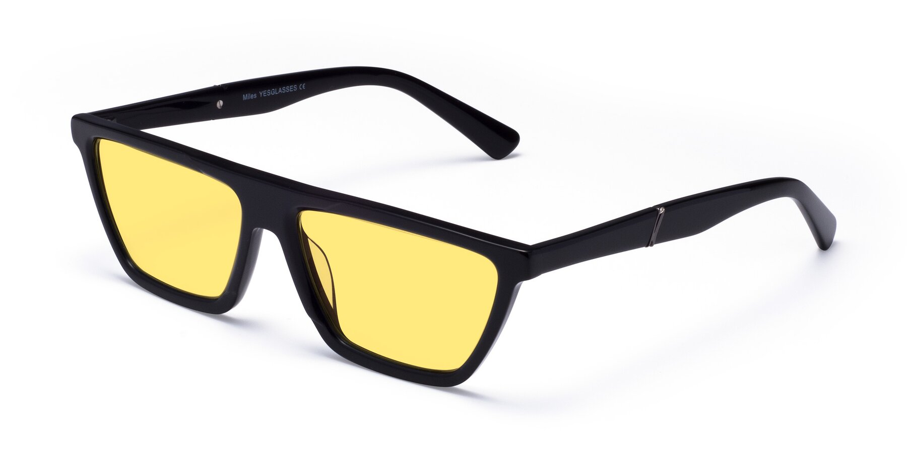Angle of Miles in Black with Medium Yellow Tinted Lenses