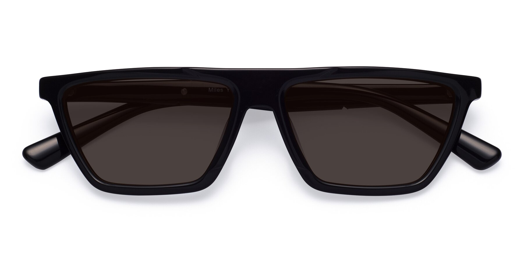 Folded Front of Miles in Black with Gray Tinted Lenses